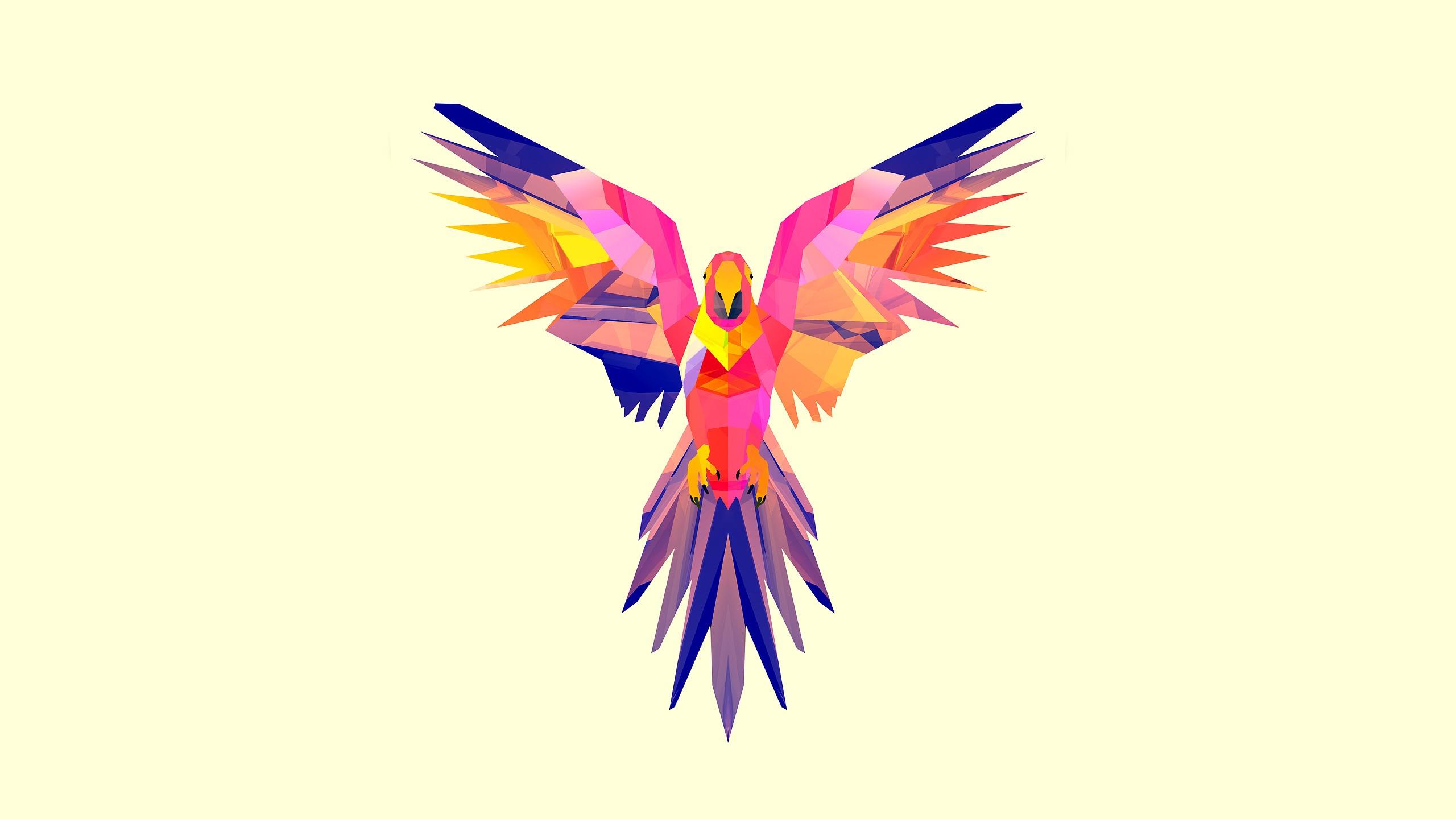 Illustration Digital Art Animals Parrot Facets Justin Maller Eagle Bird Macaw Wing
