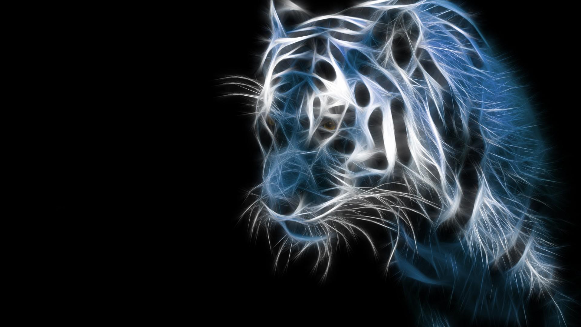 Tapety Ilustracja Sztuka Cyfrowa Zwierząt Proste Tło Tygrys