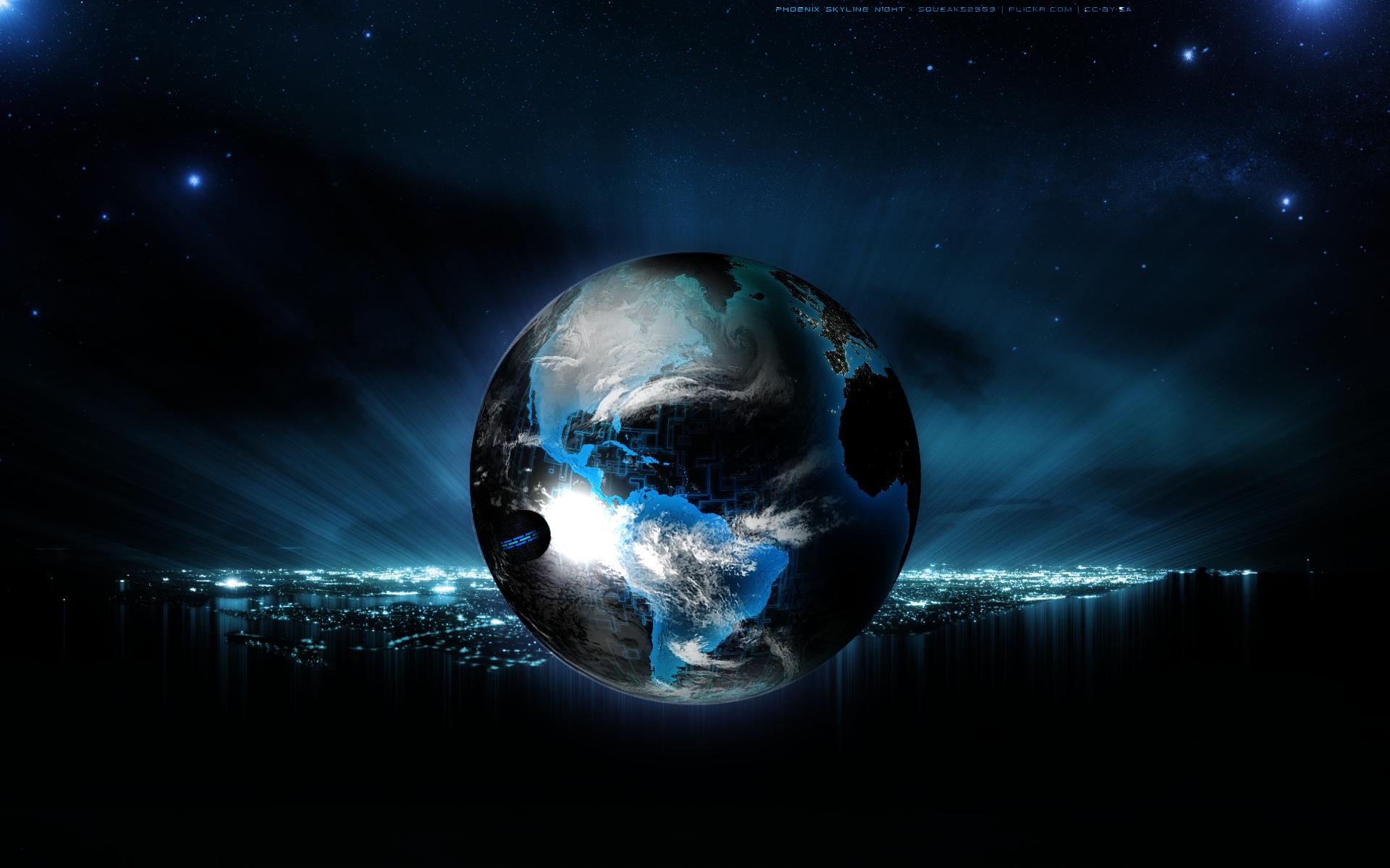 Earth Digital Art Hd Wallpaper: Wallpaper : Illustration, Digital Art, Night, Planet