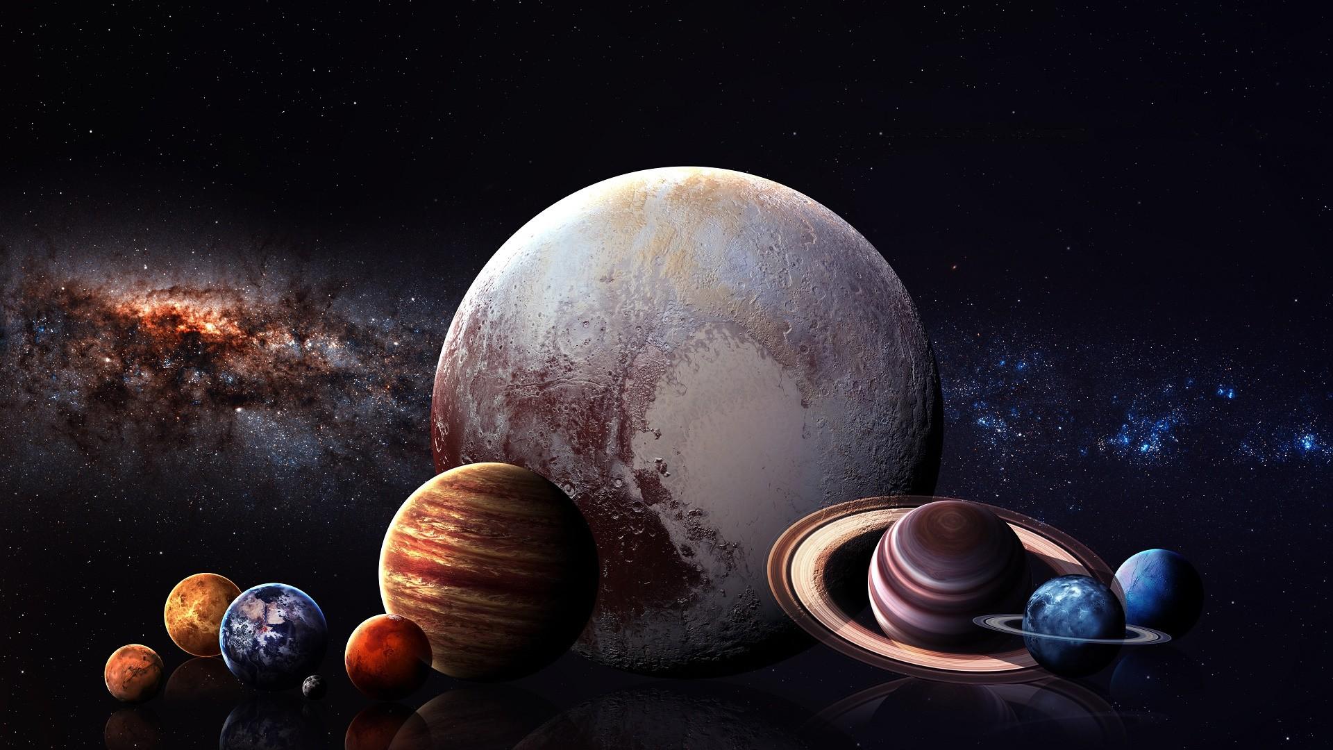 Wallpaper Illustration Digital Art Planet Reflection Stars Earth Space Moon Milky Way Atmosphere Mars Jupiter Universe Saturn Astronomy
