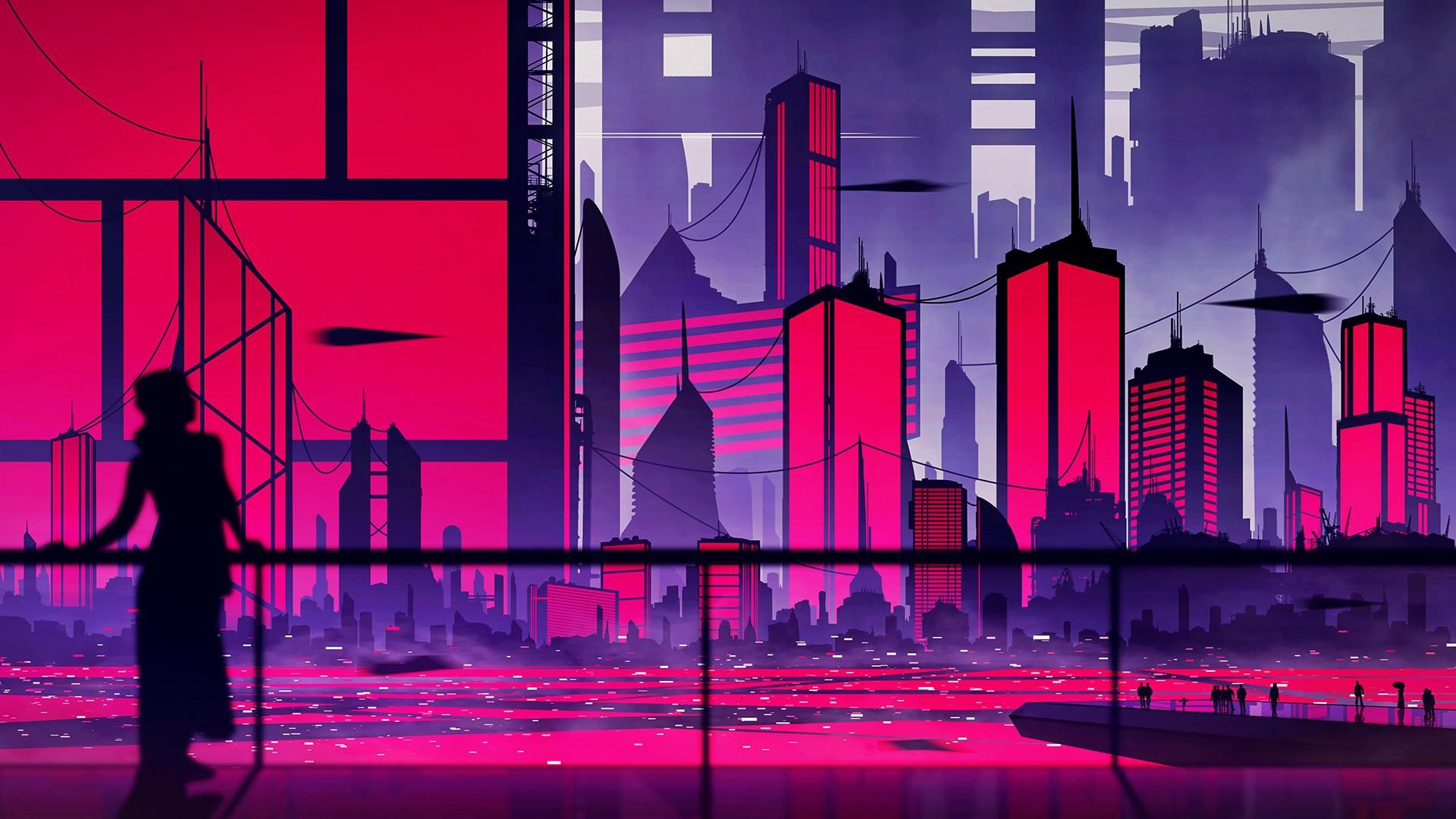 Wallpaper Illustration Digital Art Sunset Cityscape