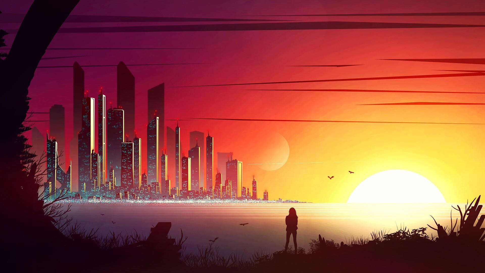 Papel De Parede Ilustracao Arte Digital Por Do Sol Cidade