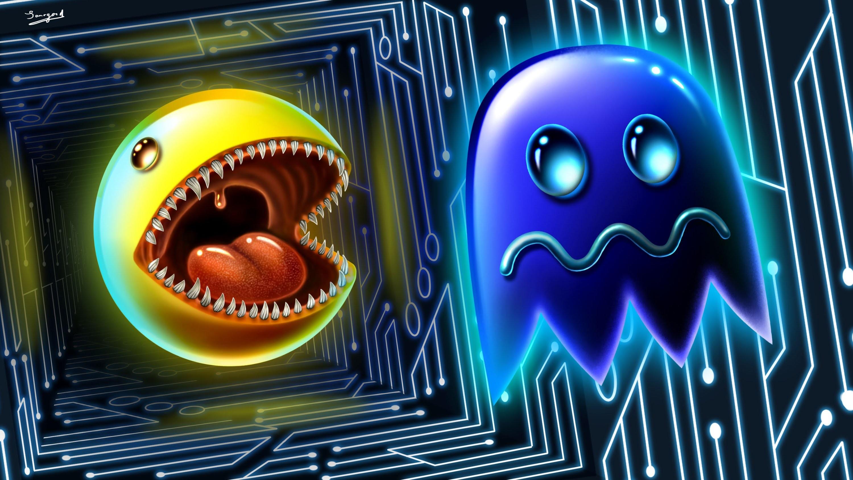 デスクトップ壁紙 図 デジタルアート ビデオゲーム 3d アートワーク 輝く レトロゲーム ファンアート 舌 牙 幽霊 パックマン 広告 数 スクリーンショット コンピュータの壁紙 フォント 看板 3000x16 Theawpmasterx 6137 デスクトップ壁紙
