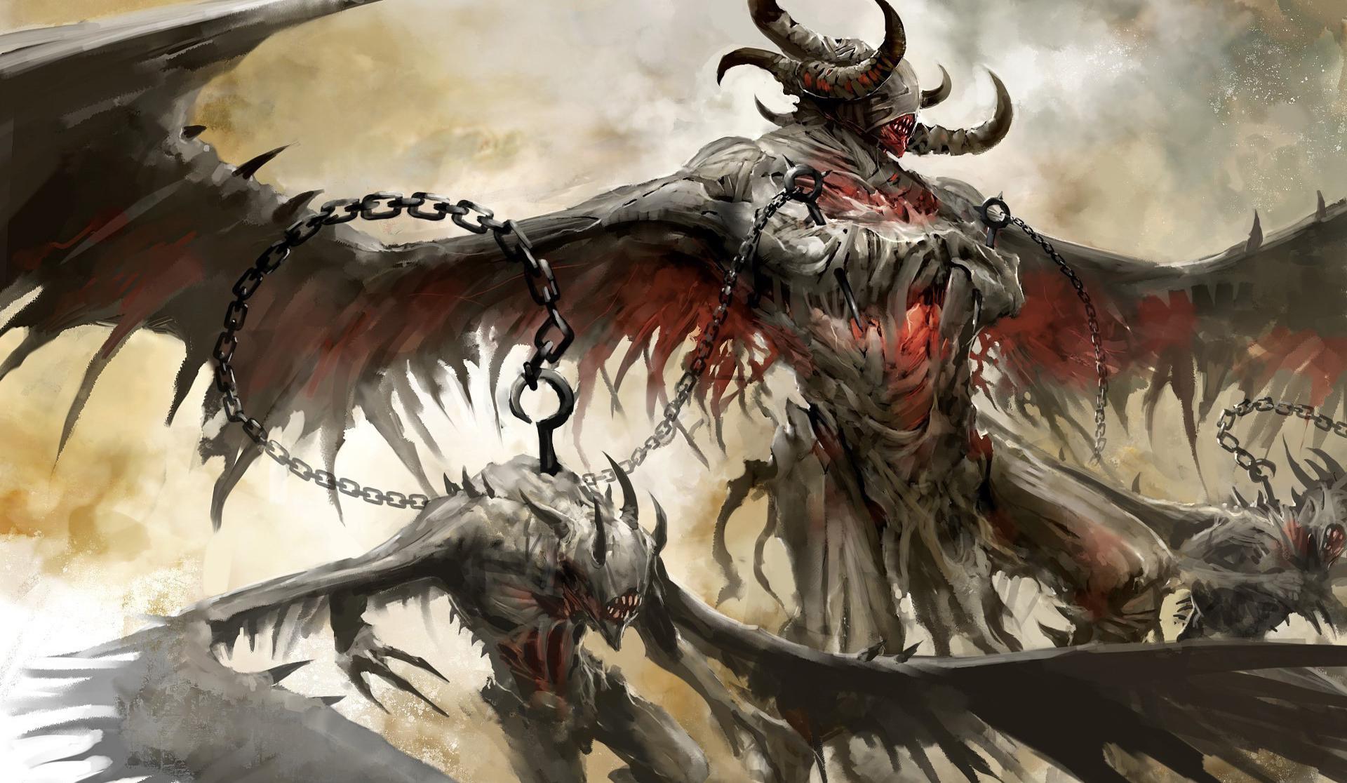 Hintergrundbilder : Illustration, Drachen, Dämon