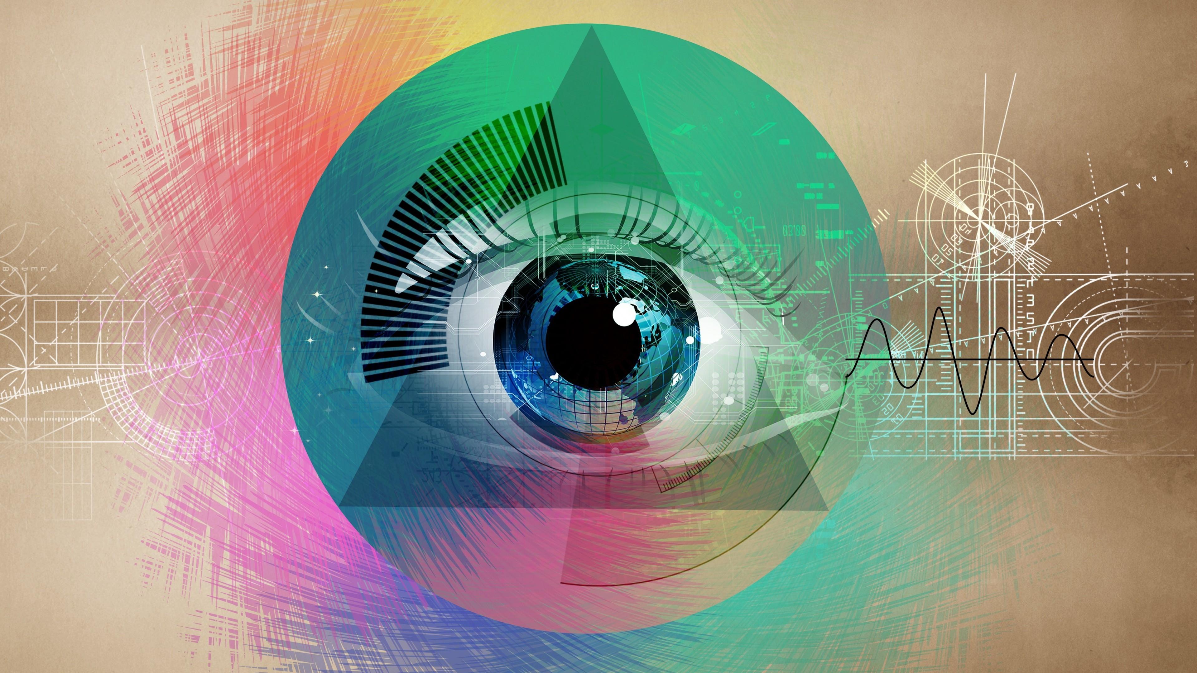 Illustration Eyes Abstract Artwork Graphic Design Circle Illuminati Vintage Compact Disc Iris ART Eye Graphics 3840x2160