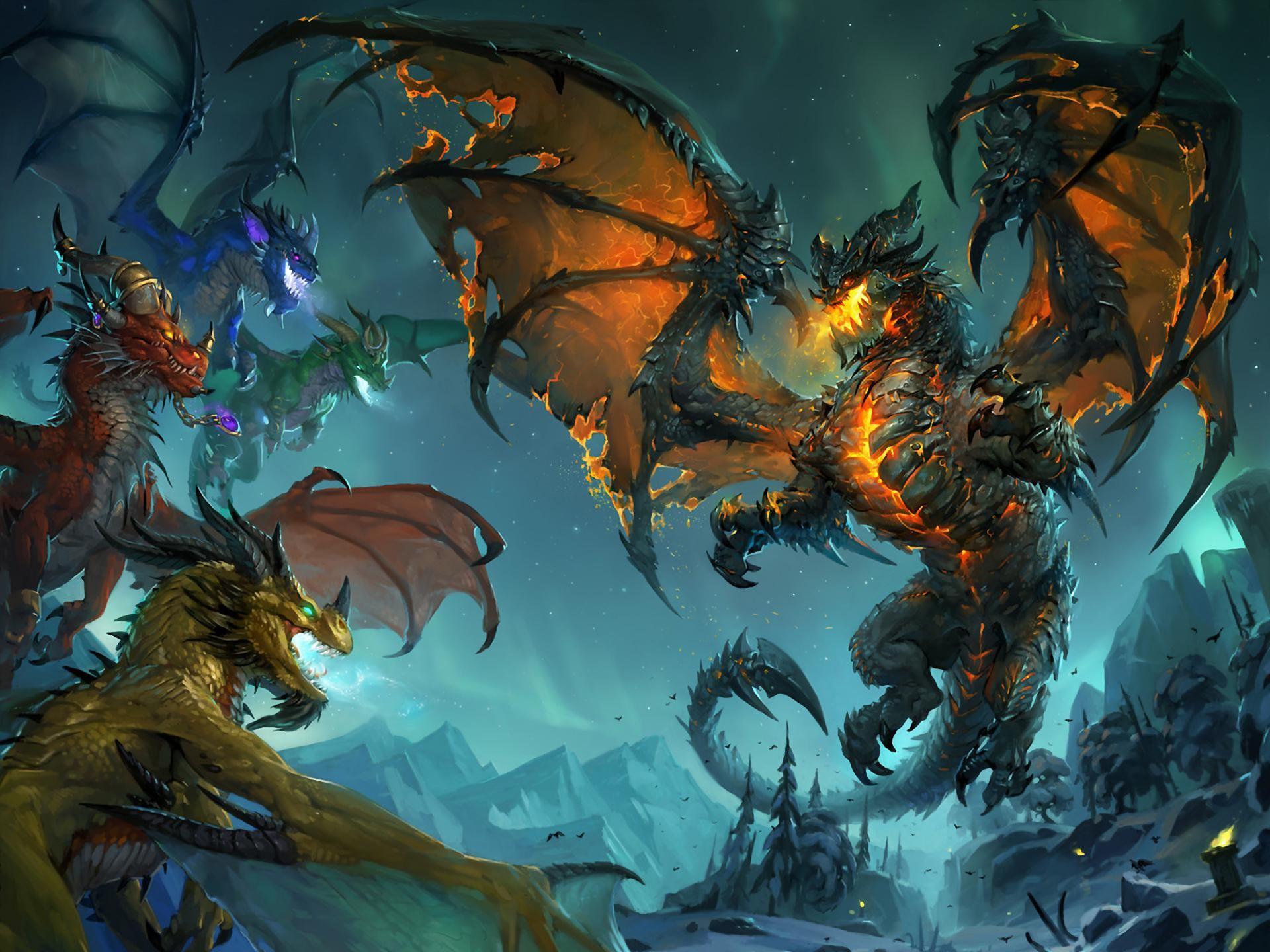 Fond d'écran : illustration, Art fantastique, World of Warcraft, dragon, mythologie, World of ...