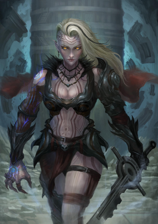 Wallpaper illustration fantasy art anime demon - Fantasy female warrior artwork ...