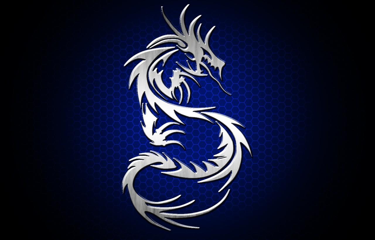 Sfondi Illustrazione Pesce Blu Drago Tribale Argento Ala