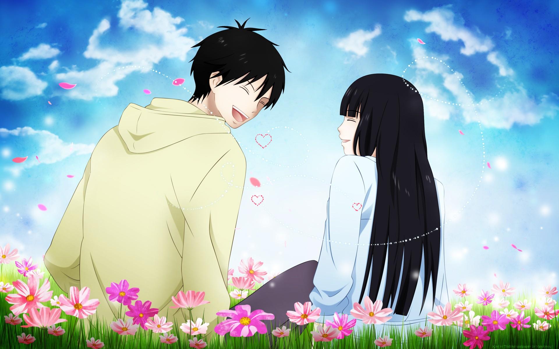 illustration flowers anime anime girls anime boys love emotion Kimi ni Todoke Kuronuma Sawako Kazehaya Shouta romance flower screenshot computer wallpaper interaction 83893