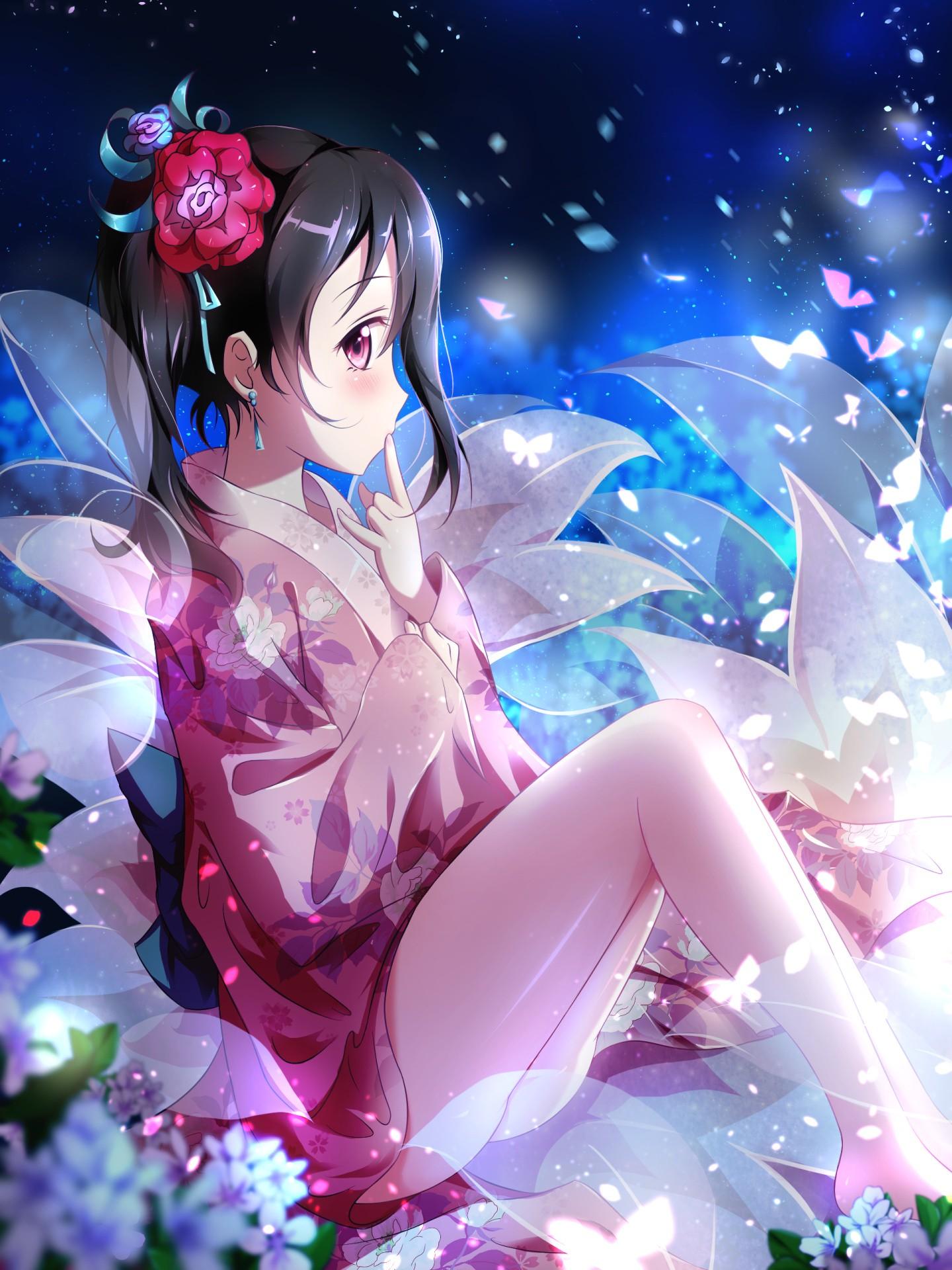 Wallpaper : illustration, flowers, anime girls, short hair ...