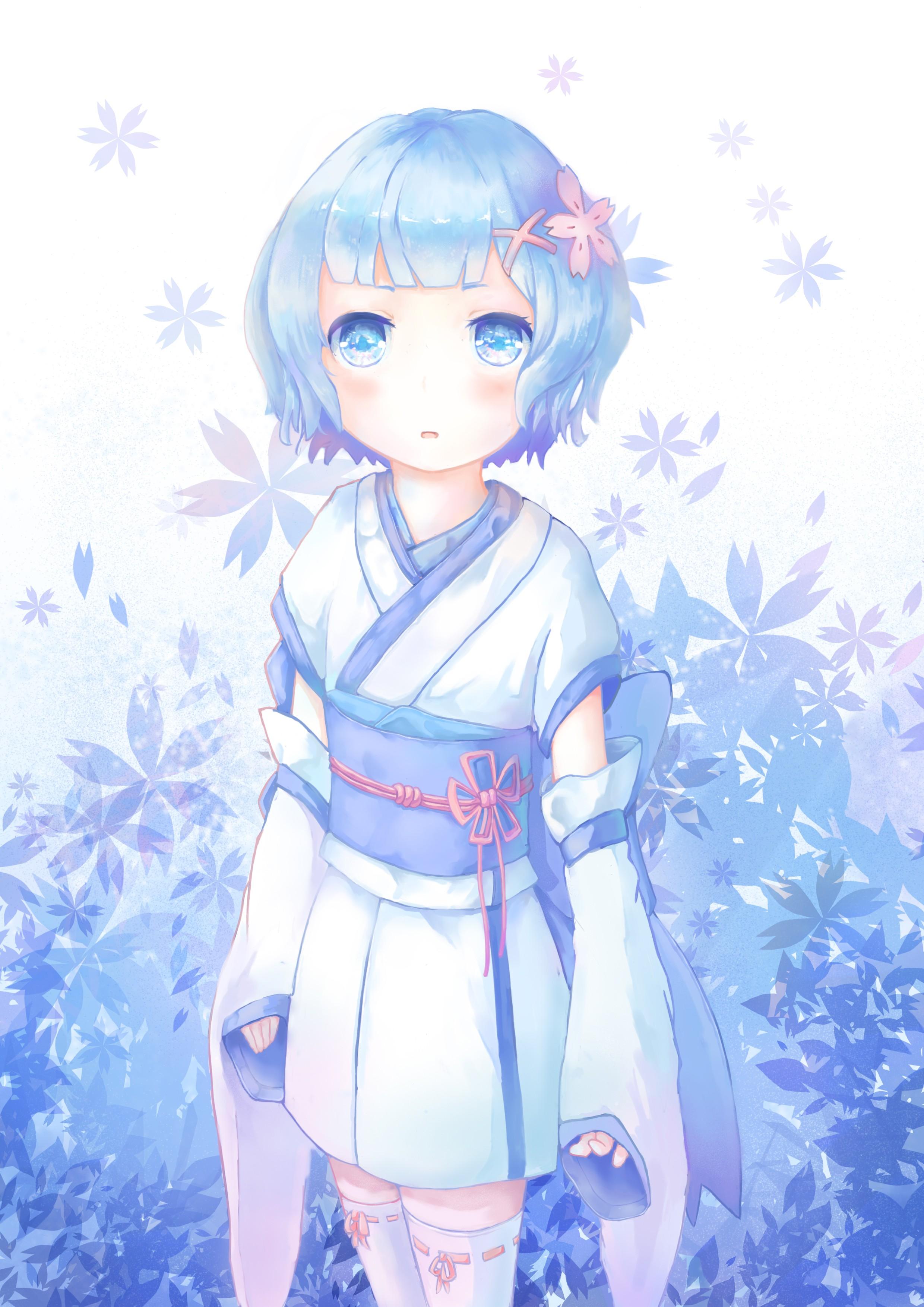 デスクトップ壁紙 図 フラワーズ アニメ 青い髪 青い目