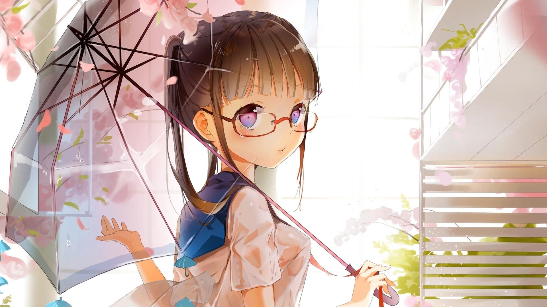 Аниме картинки девочка в очках