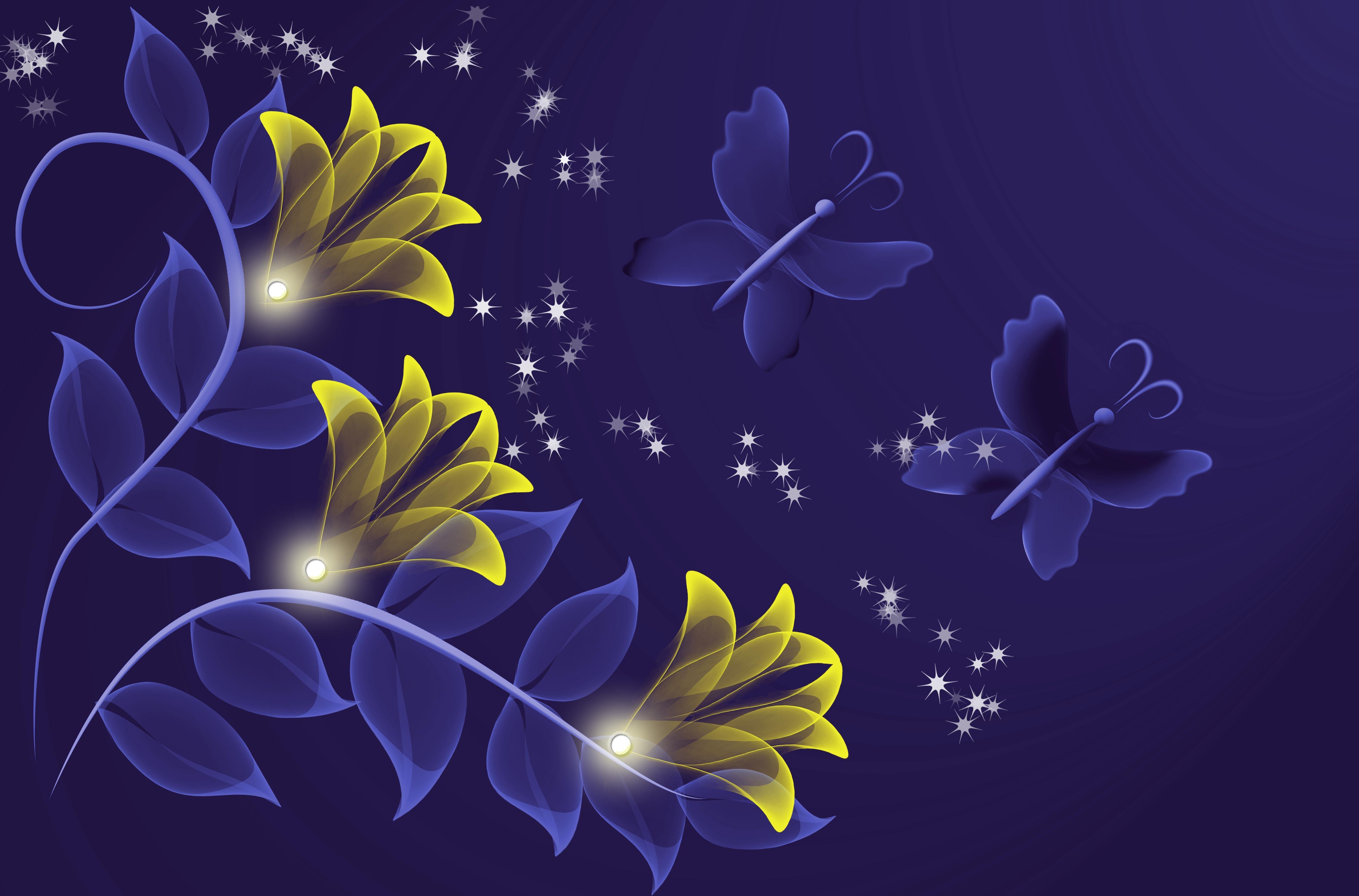 Blue Floral Background Hd