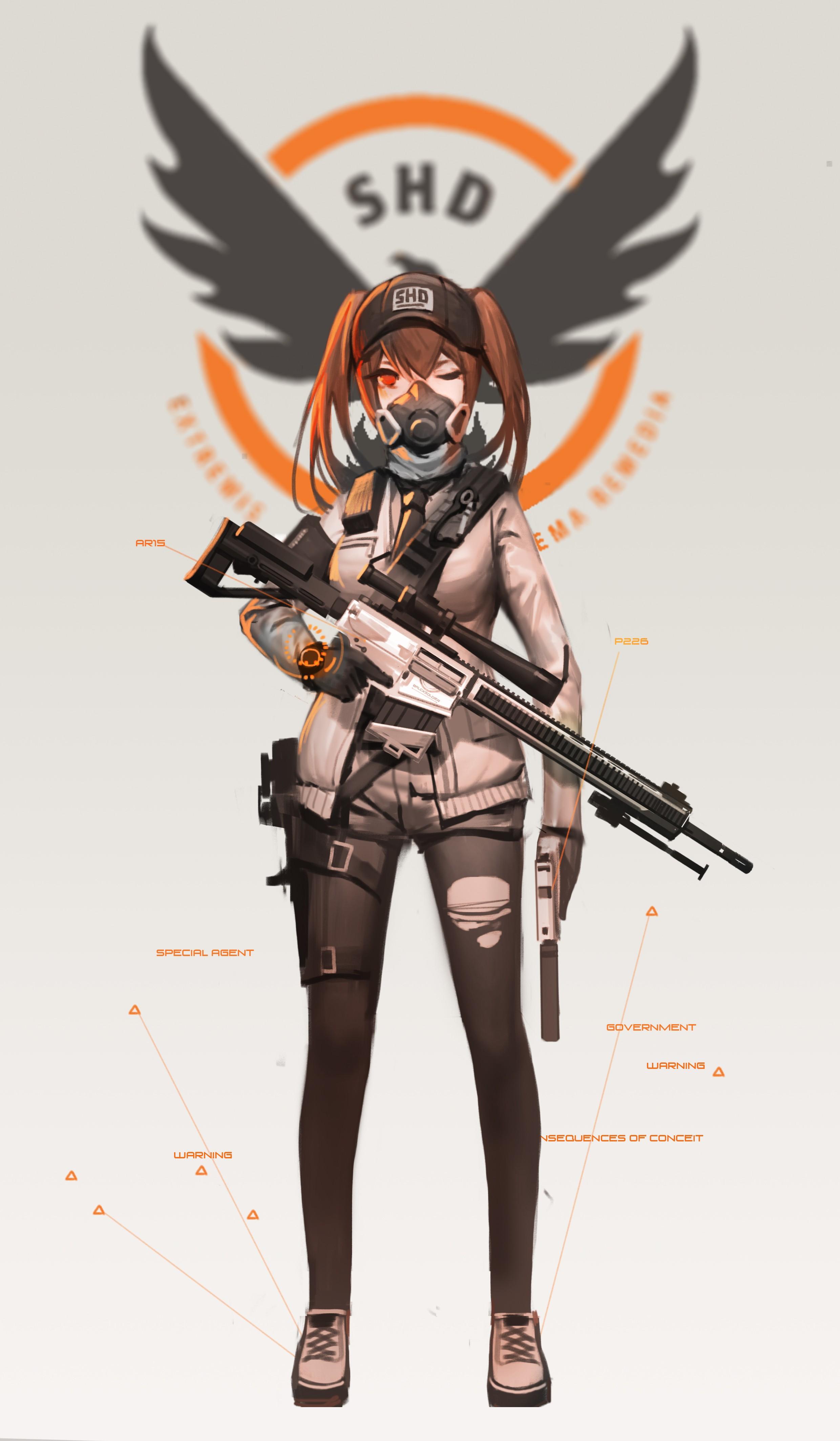 Wallpaper illustration gun long hair anime girls - Anime sniper girl ...
