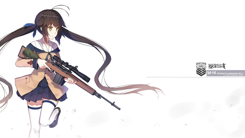 Wallpaper Ilustrasi Senjata Rambut Panjang Gadis Anime