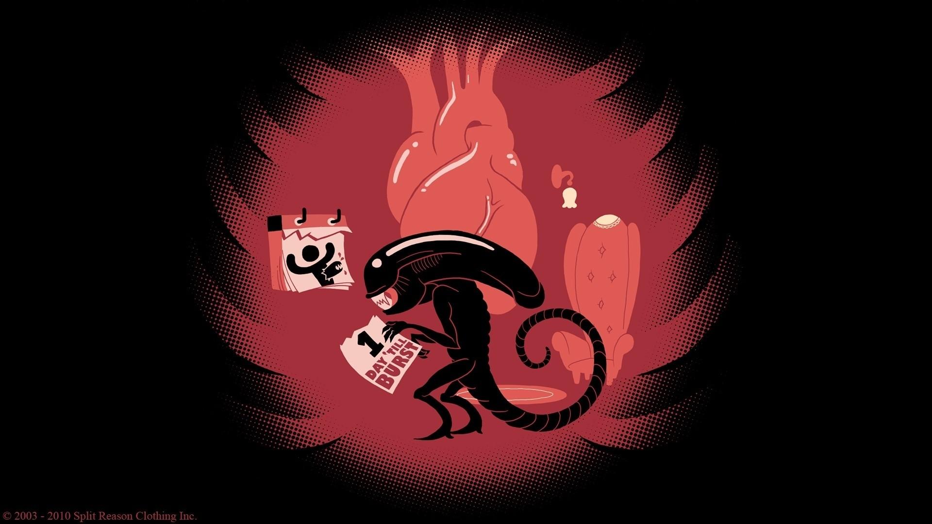 illustration humor red logo Xenomorph aliens poster happy birthday darkness computer wallpaper font organ album cover