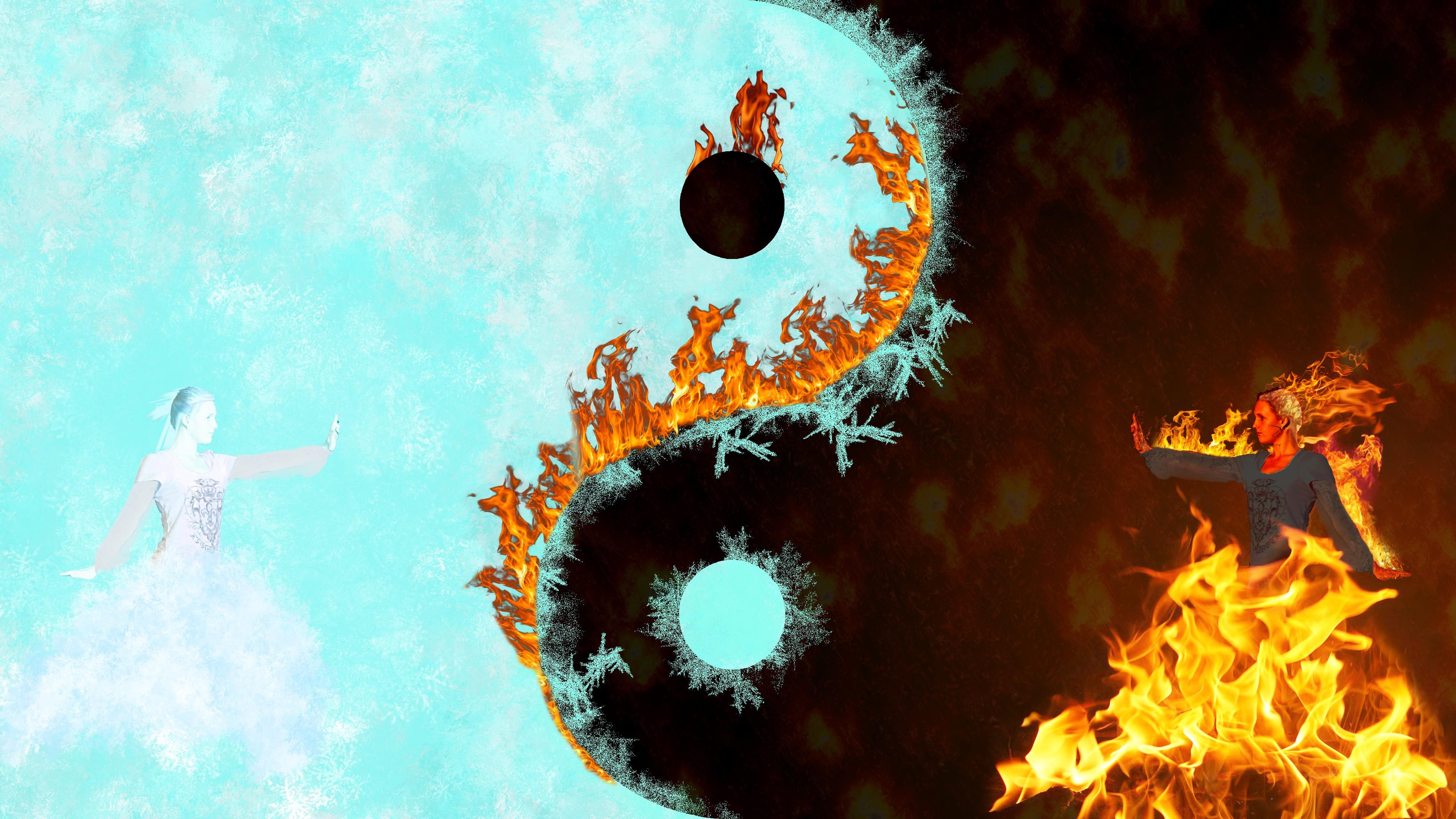 Illustration Ice Fire Yin And Yang Screenshot Computer Wallpaper