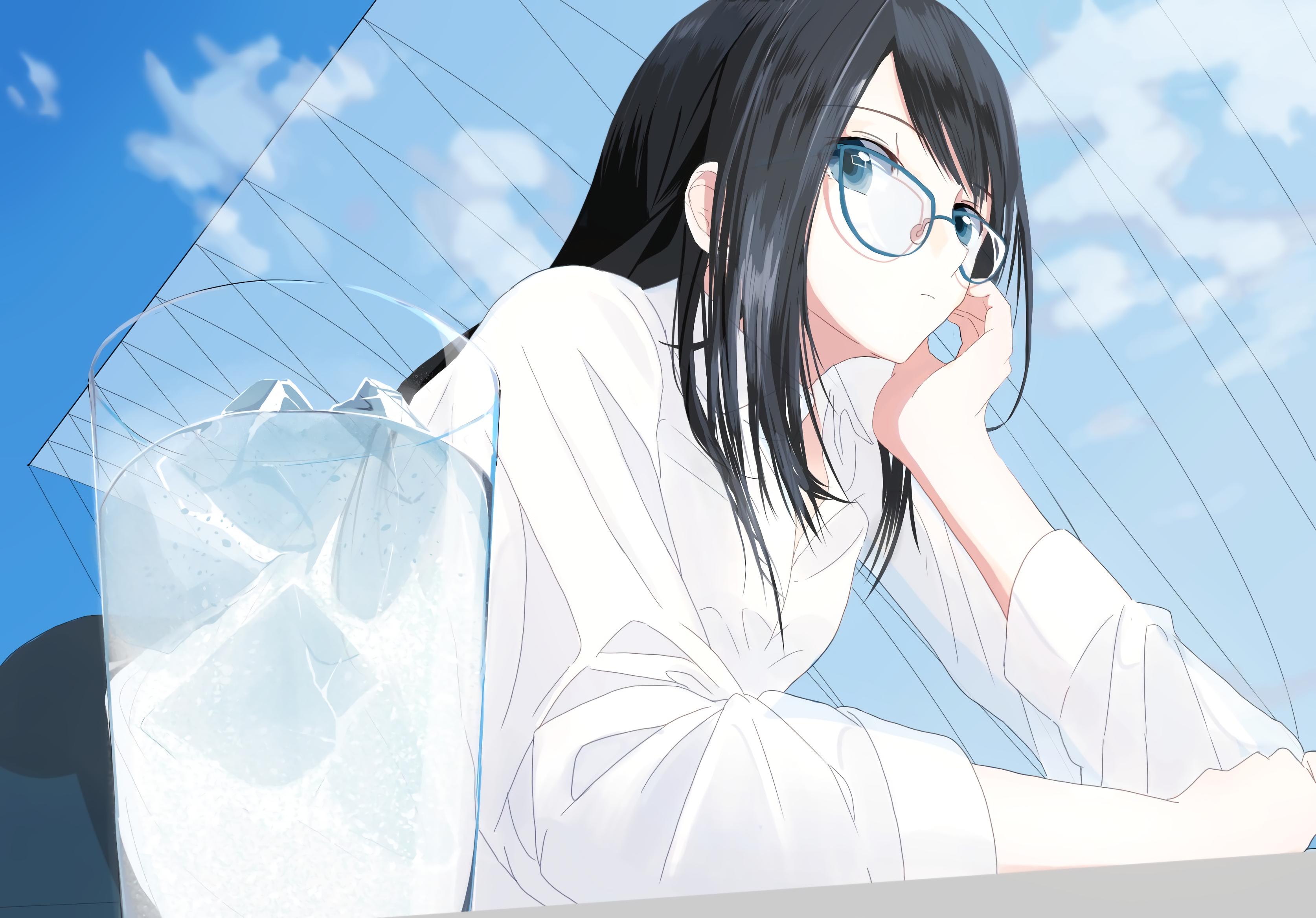 Wallpaper Illustration Long Hair Anime Girls Blue Eyes Glasses