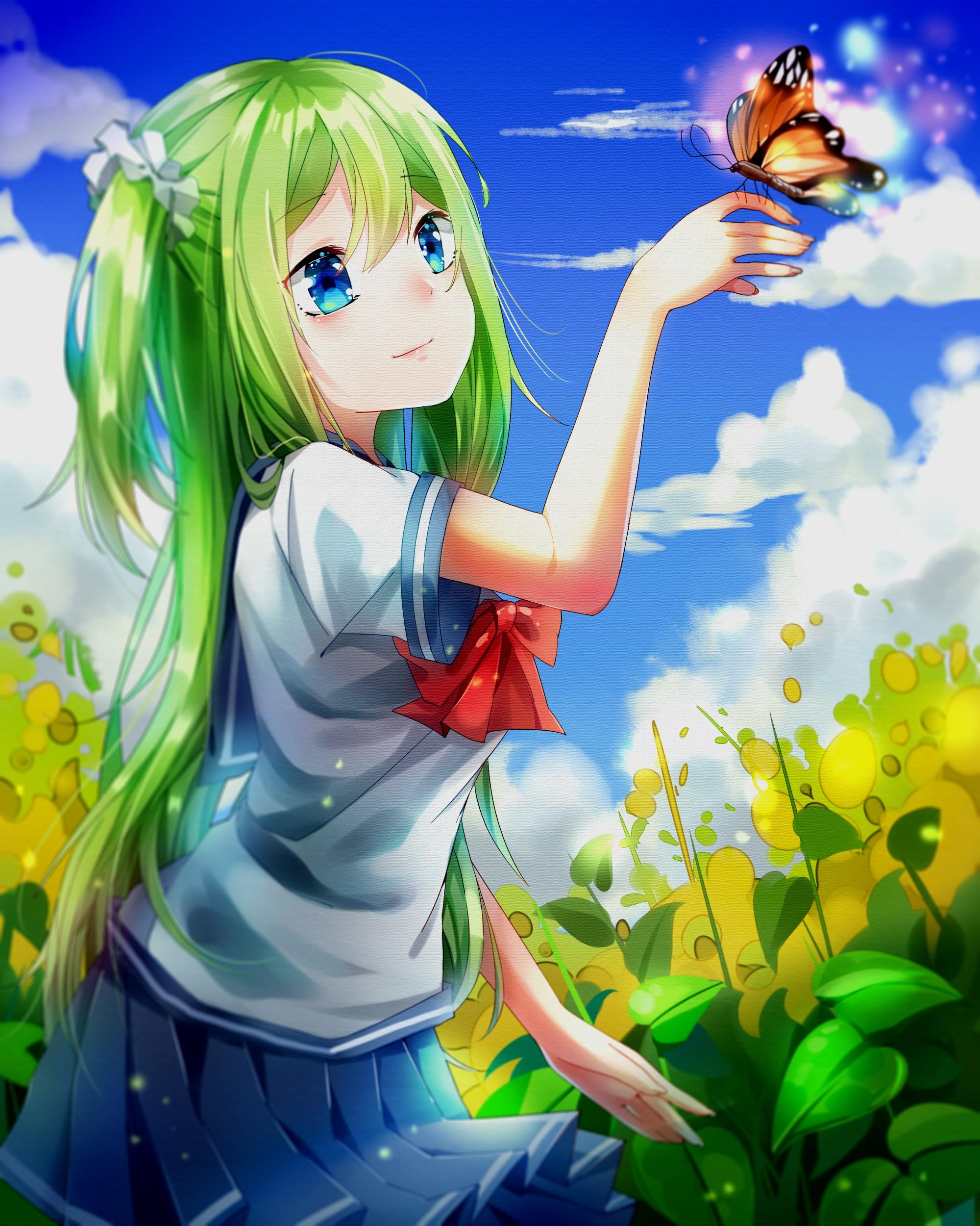Illustration Long Hair Anime Girls Blue Eyes Sky Clouds Butterfly Cartoon Green Computer Wallpaper