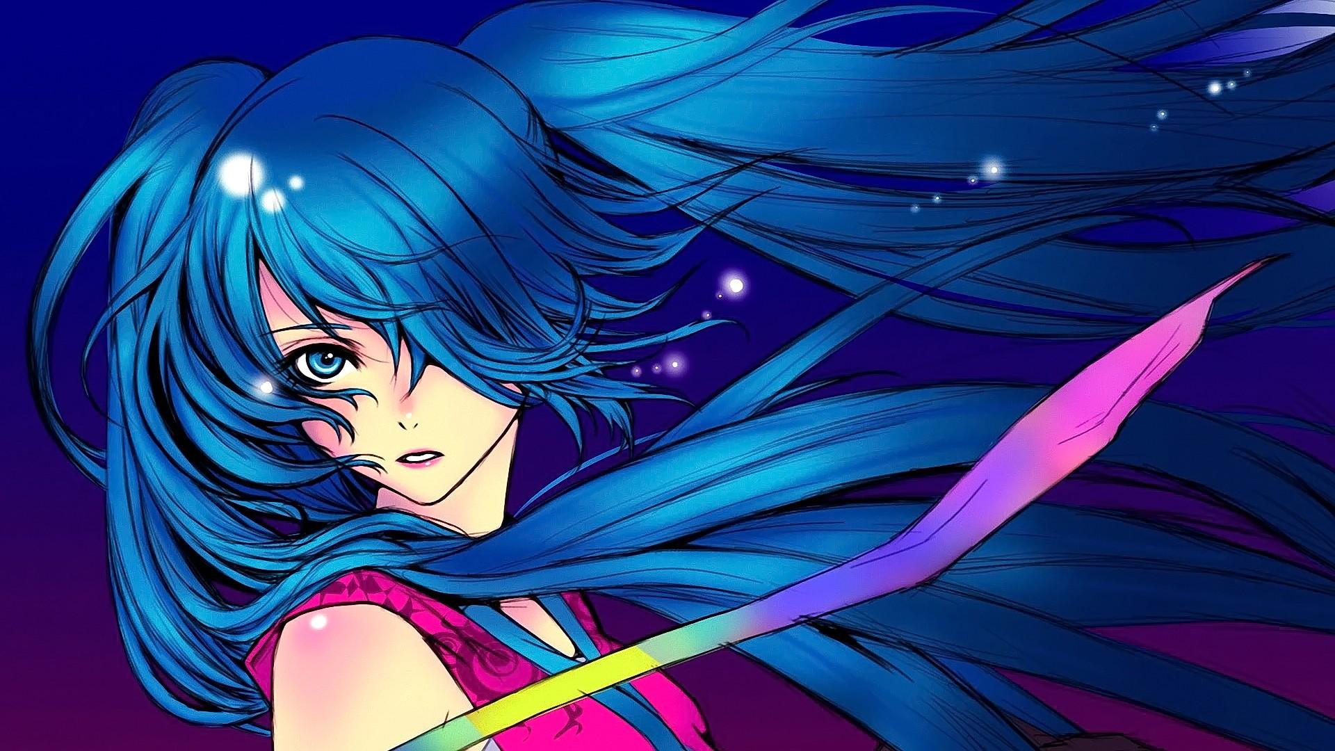 Картинки аниме синее