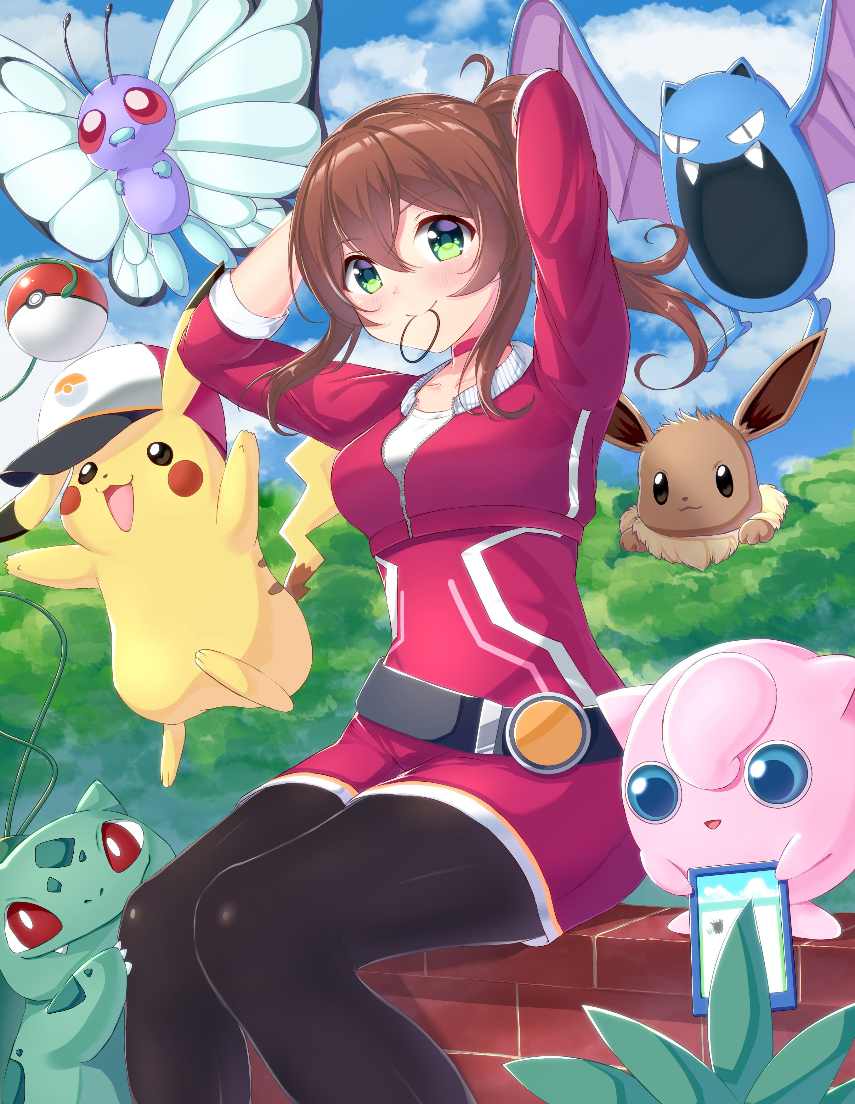 Wallpaper Illustration Long Hair Anime Girls Brunette Green