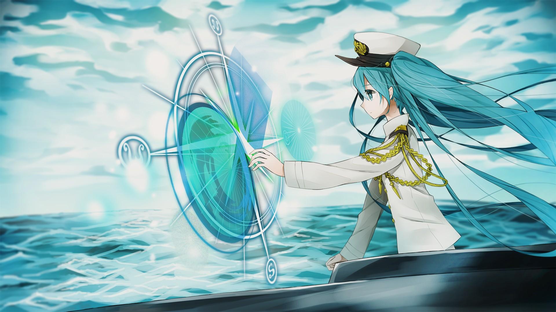 デスクトップ壁紙 図 長い髪 アニメの女の子 帽子 雲 青