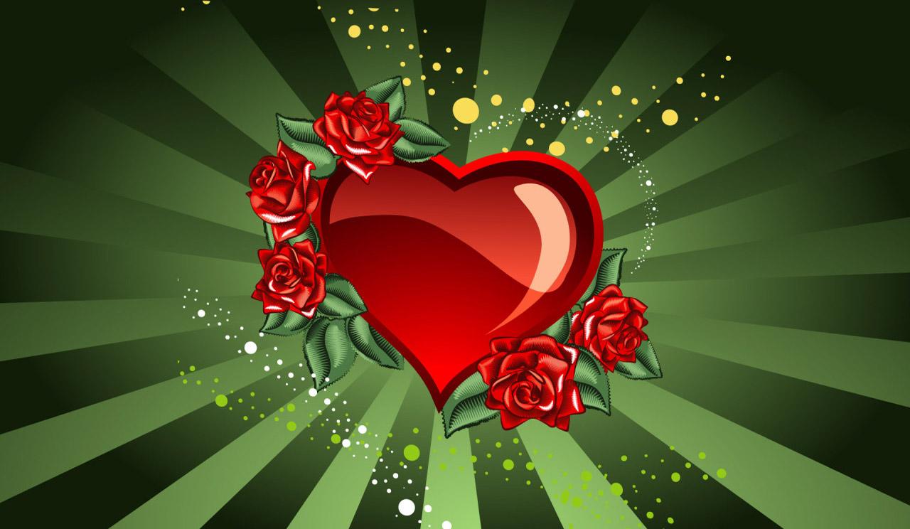 Wallpaper Illustration Love Heart Red Green Valentines Day Flower Flora Petal Graphics Computer Garden Roses Rose Family