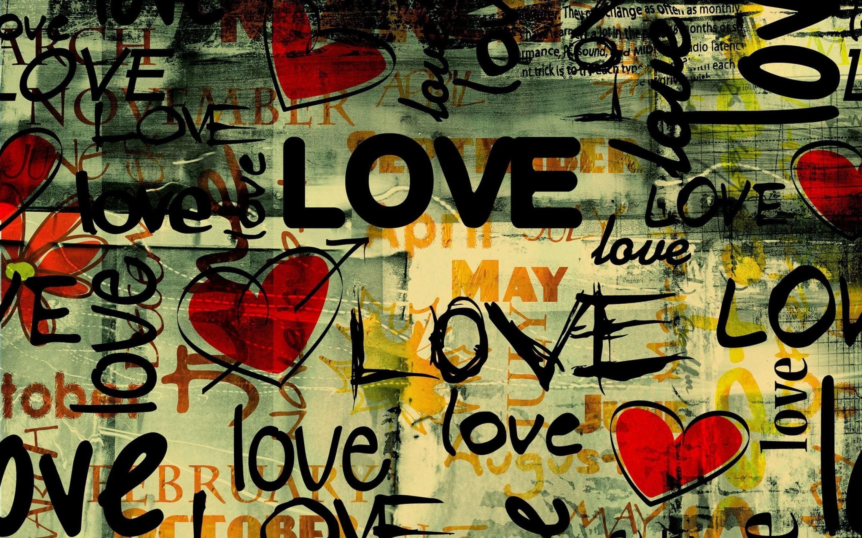 Papel De Parede Ilustracao Amor Coracao Tipografia Grafite