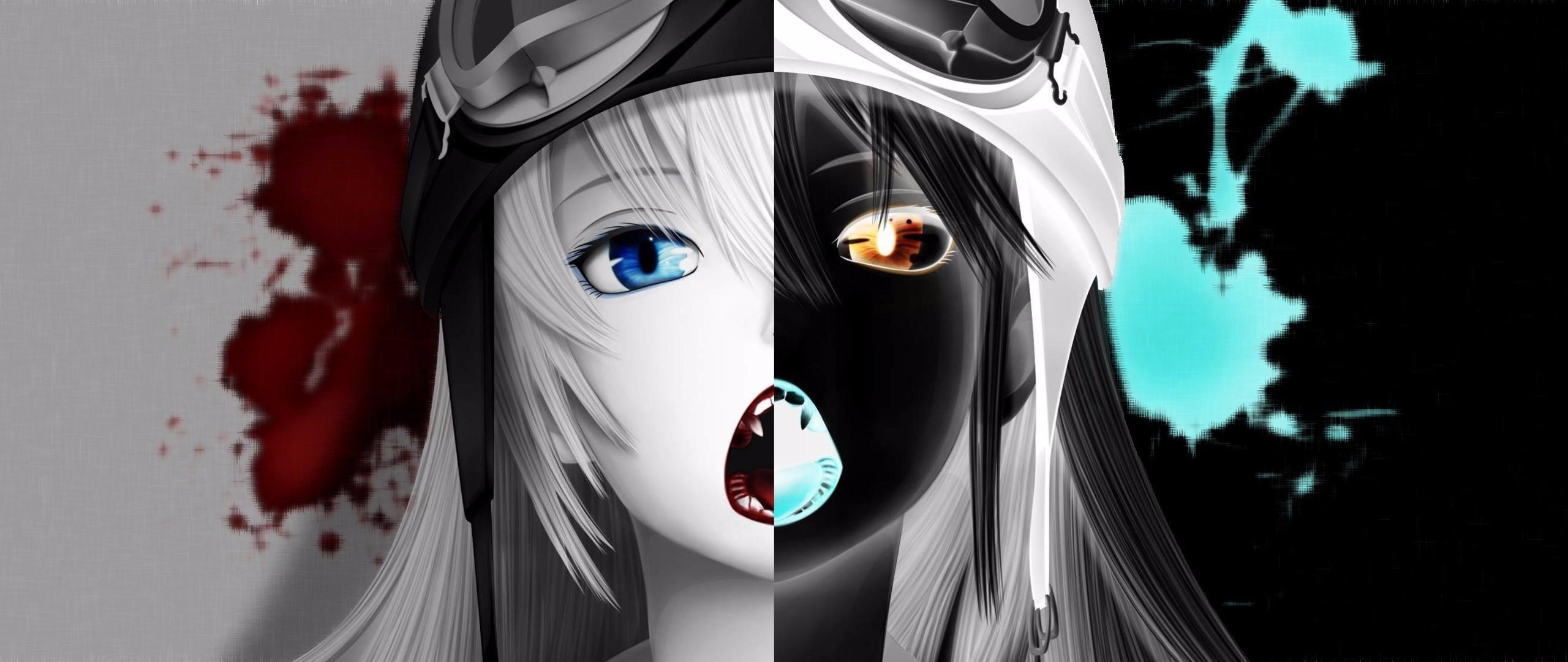 デスクトップ壁紙 図 モノクロ 物語シリーズ アニメの女の子