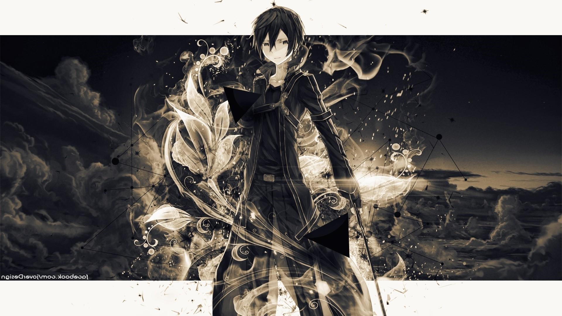 Illustration Monochrome Anime Sky Sword Art Online Kirigaya Kazuto Graphic Design ART Graphics 1920x1080 Px Computer