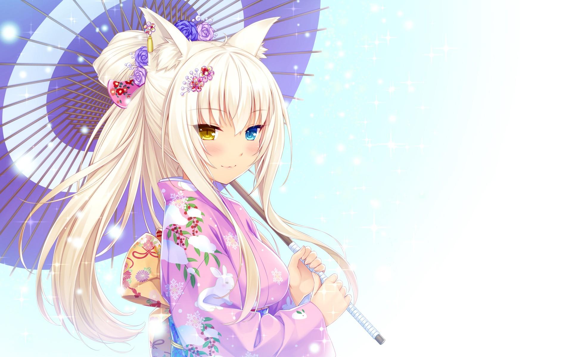 Illustration nekomimi anime anime girls cat girl animal ears umbrella heterochromia kimono neko para coconut neko
