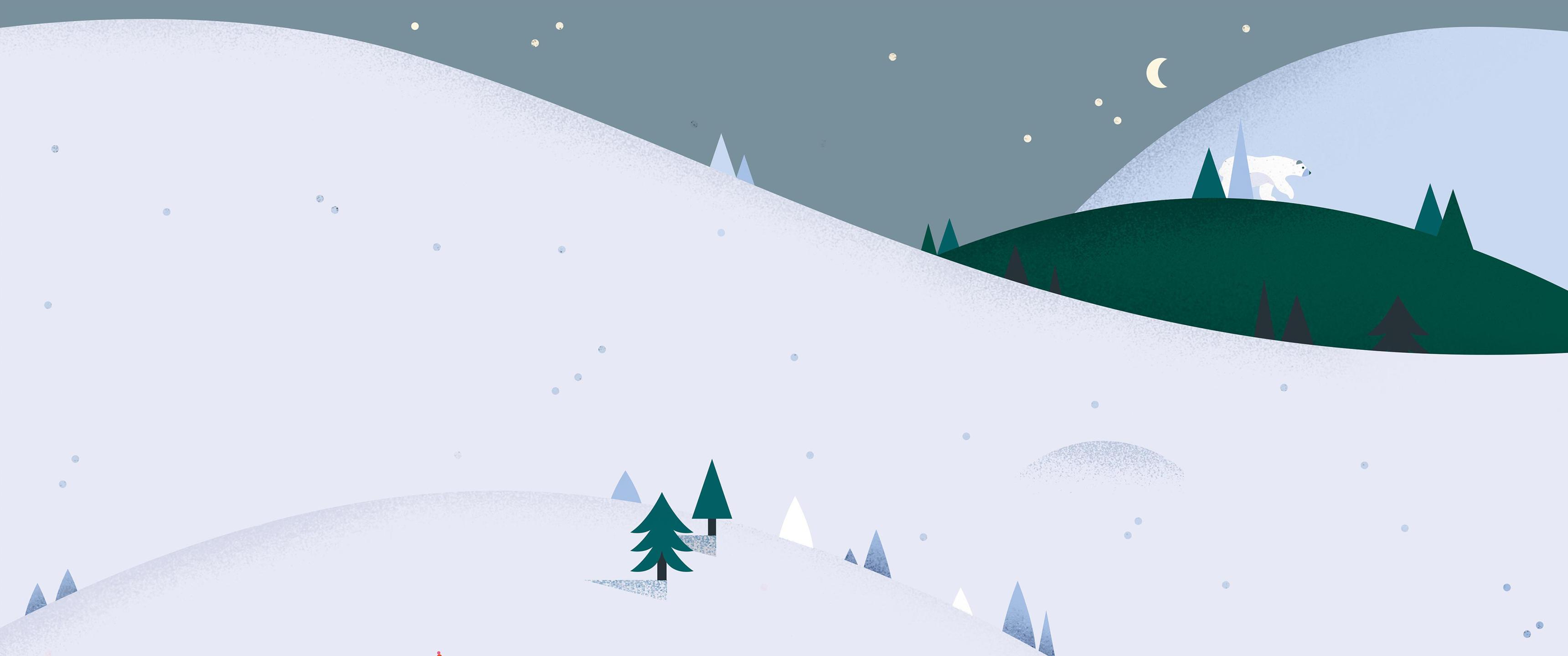 Wallpaper illustration night minimalism snow hills