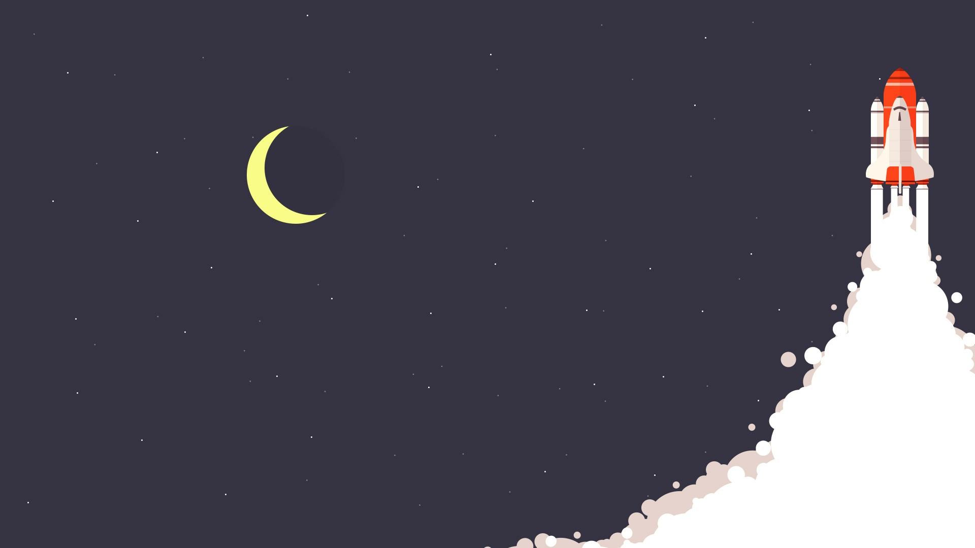Wallpaper Illustration Night Space Minimalism Stars Moon Rocket Universe Astronomical Object Crescent 1920x1080 Microcosmos 50258 Hd Wallpapers Wallhere