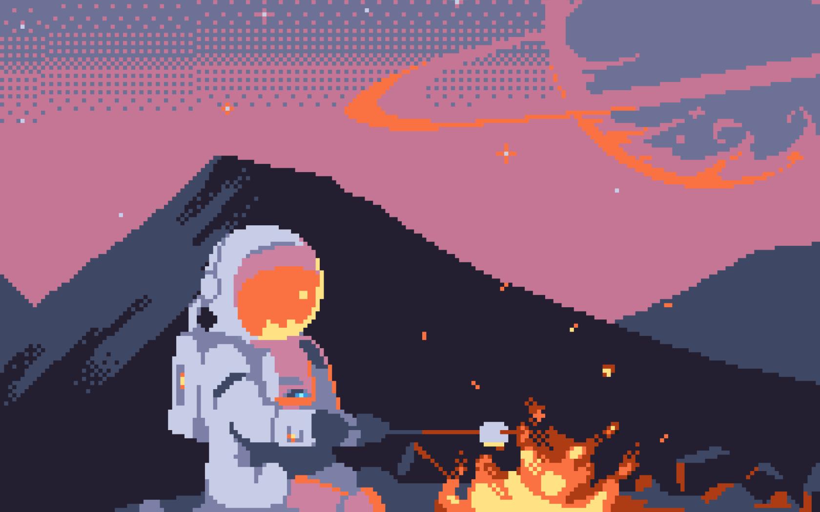 Fond Décran Illustration Pixel Art Planète Espace