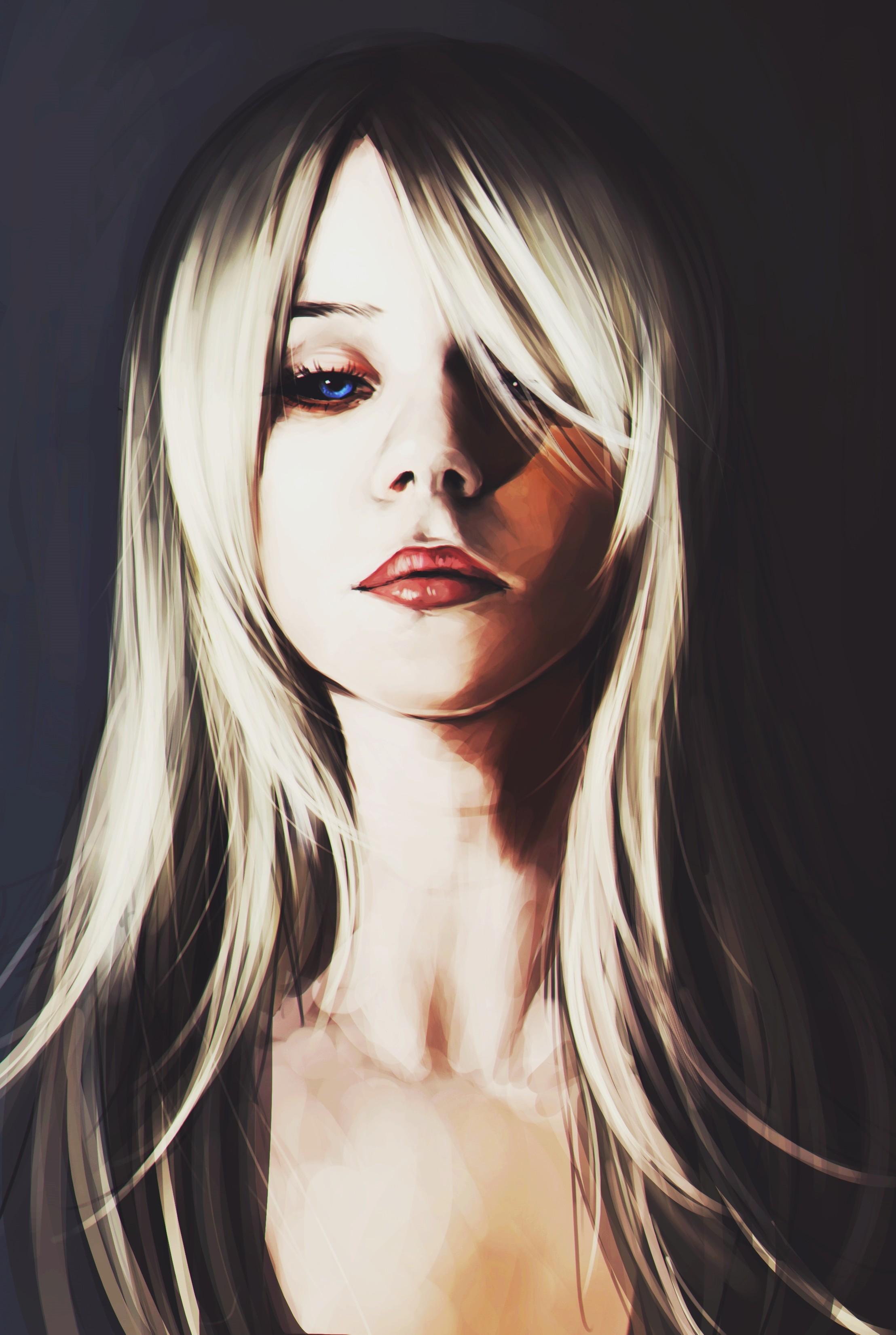 Wallpaper Illustration Portrait Long Hair Blue Eyes Deviantart