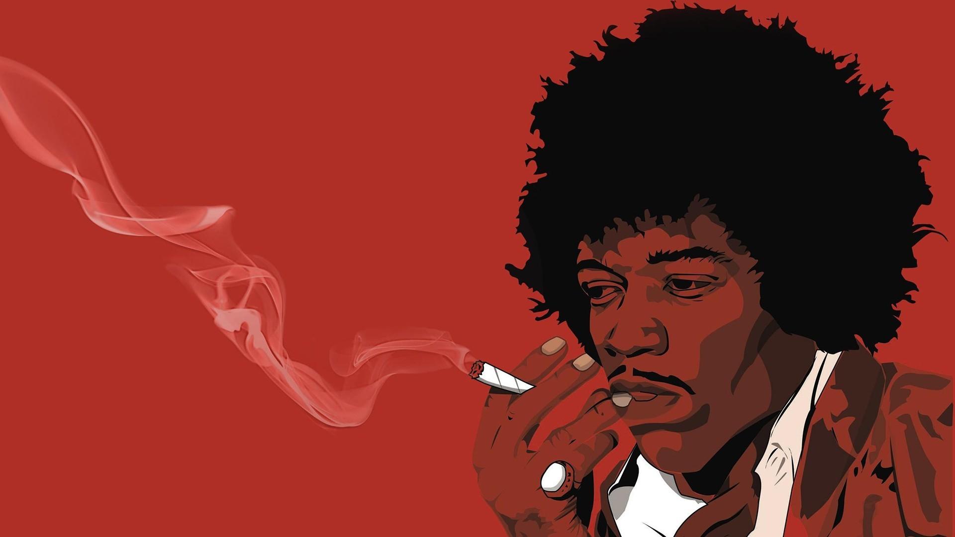 Illustration Red Cartoon Musician Fan Art Poster Jimi Hendrix Joints Organ Album Cover