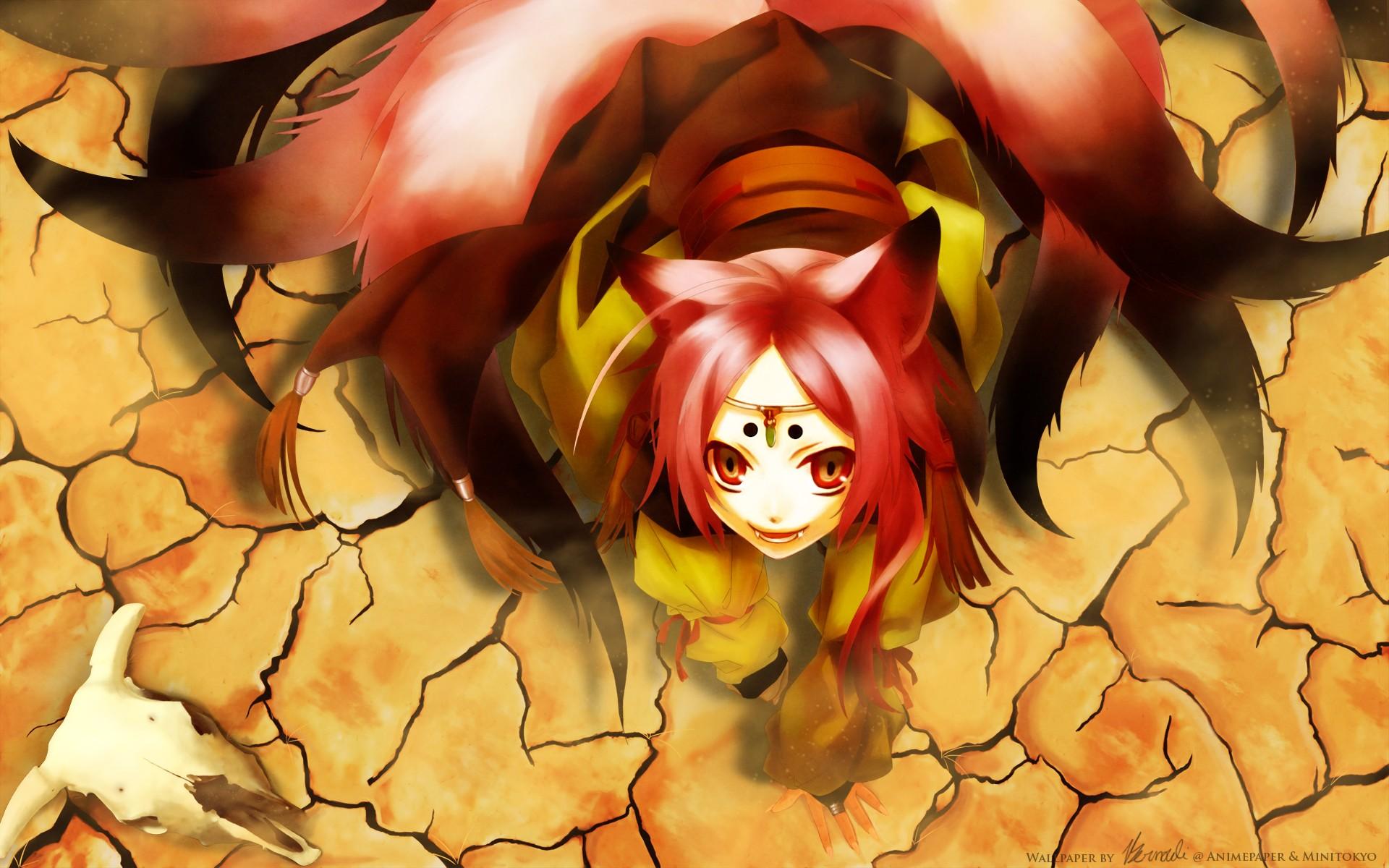 Sfondi : illustrazione testa rossa anime girls ragazza volpe