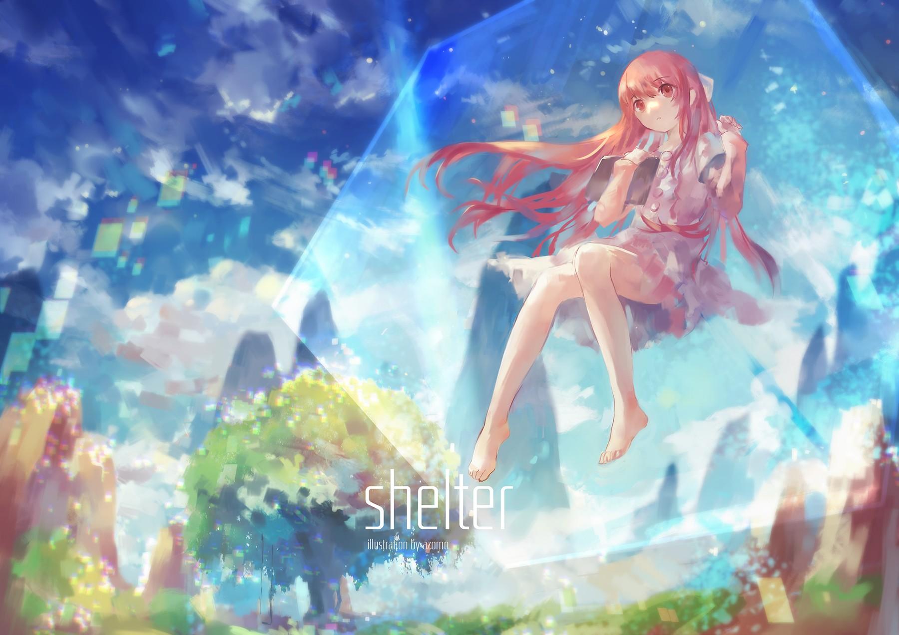 Illustration redhead long hair anime anime girls legs dress feet red eyes shelter rin shelter mythology
