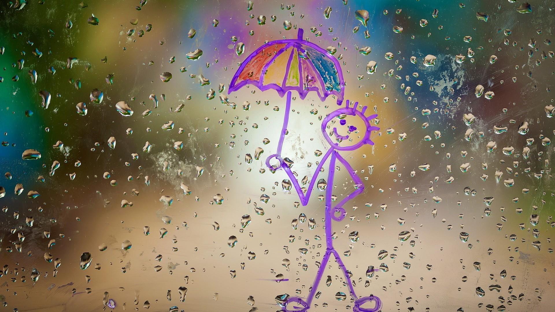 мокрый зонт обои на рабочий стол горными тропами