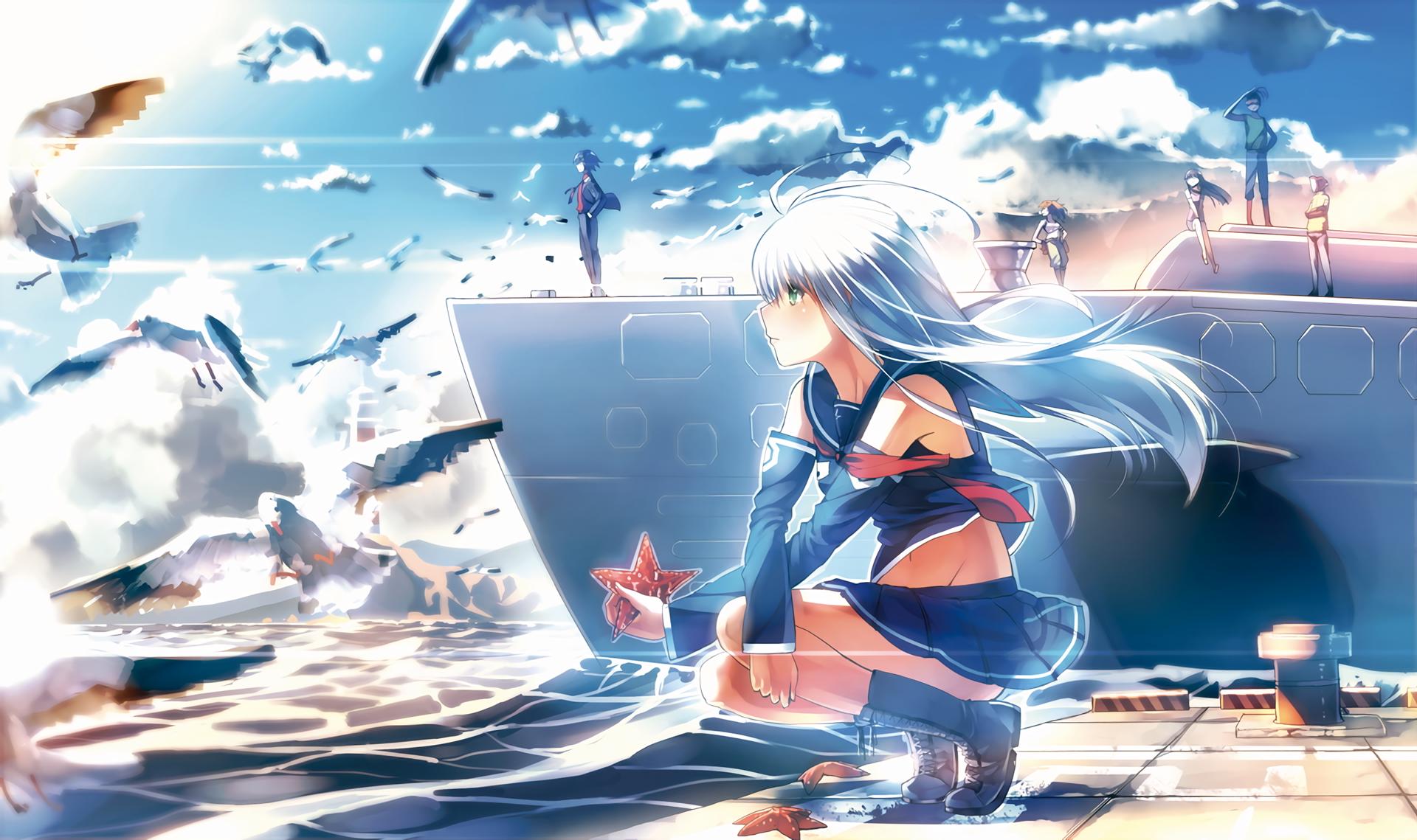 Sfondi Illustrazione Nave Uccelli Mare Anime Cartone Animato