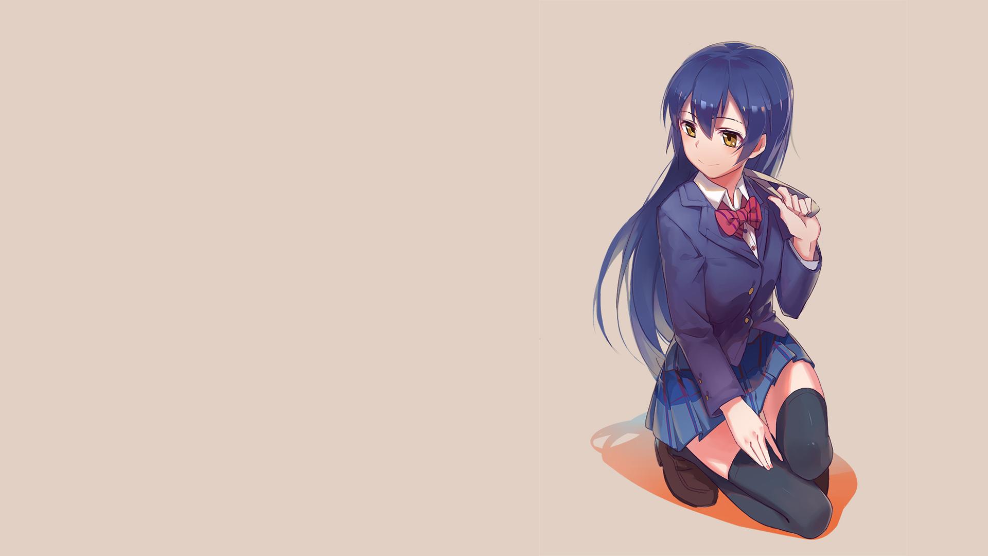 Illustration Simple Background Long Hair Anime Girls Yellow Eyes Blue Love Live Cartoon Thigh