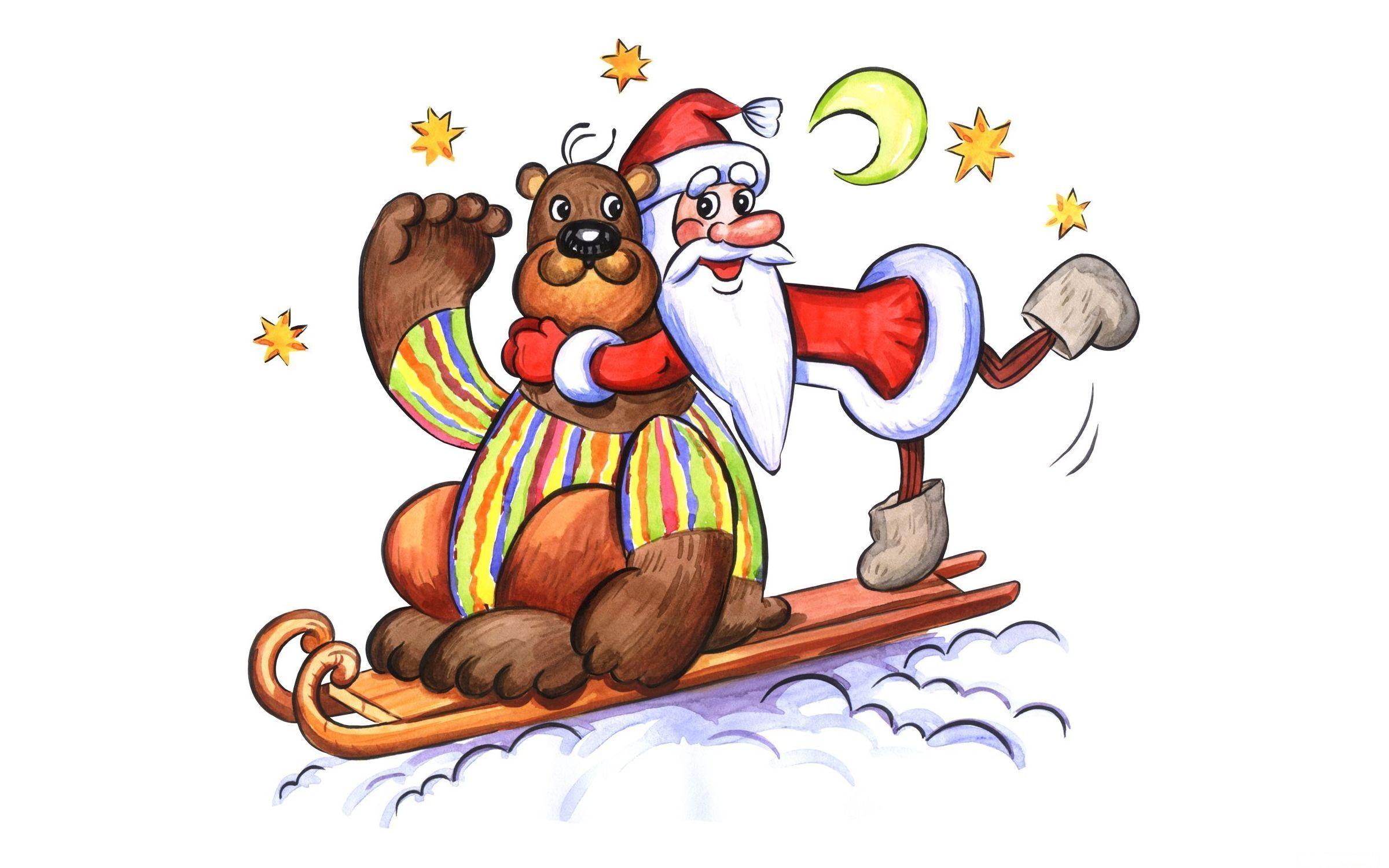 Fond D écran Vacances De Noël: Fond D'écran : Illustration, étoiles, Lune, Dessin Animé