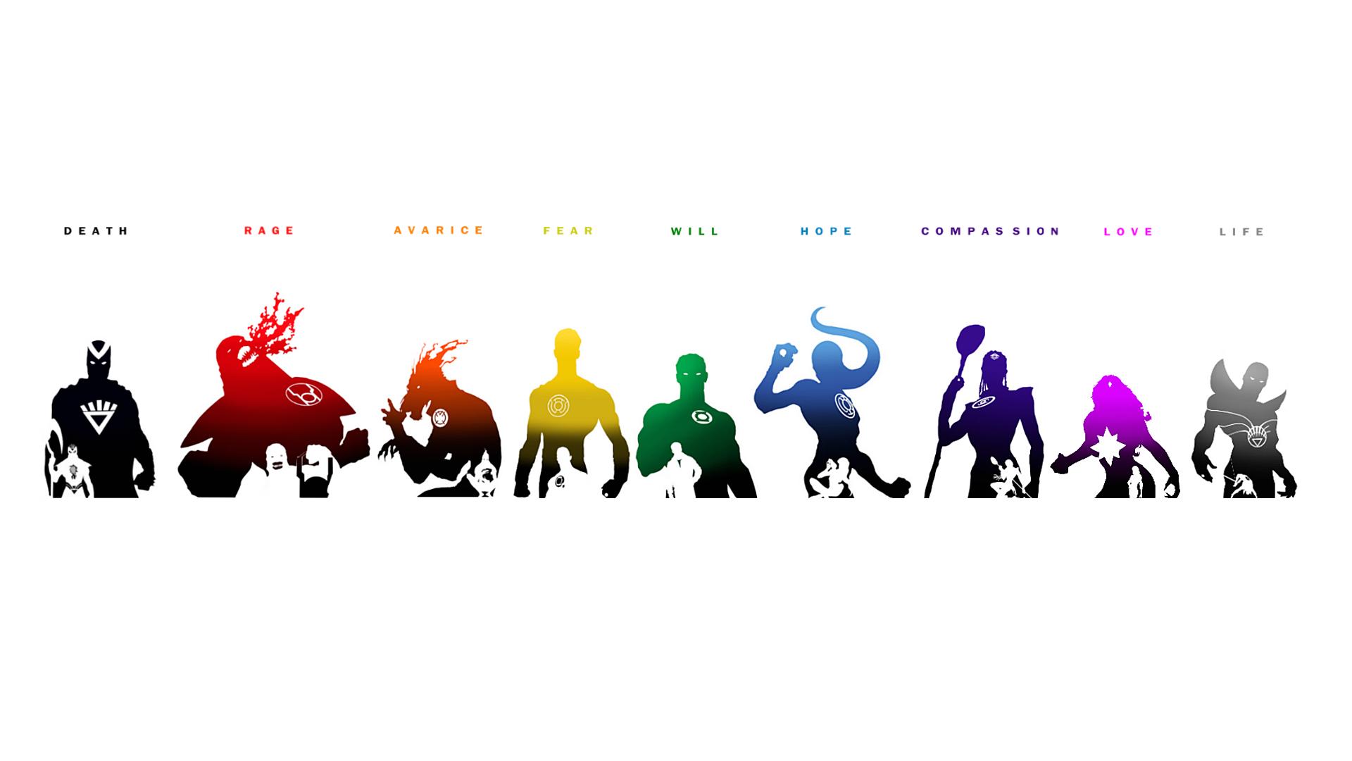 Illustration Text Logo Cartoon Superhero DC Comics Green Lantern Emotional Spectrum Hal Jordan Sinestro Larfleeze Atrocitus