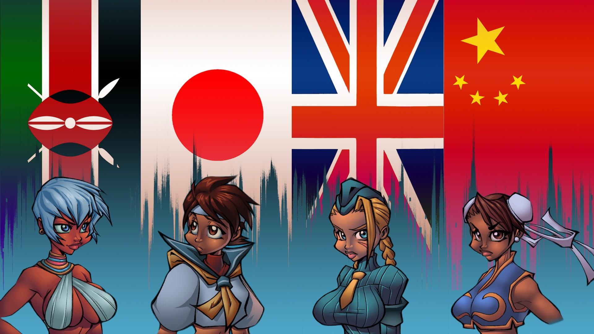 wallpaper : illustration, video games, anime, cartoon, flag, street