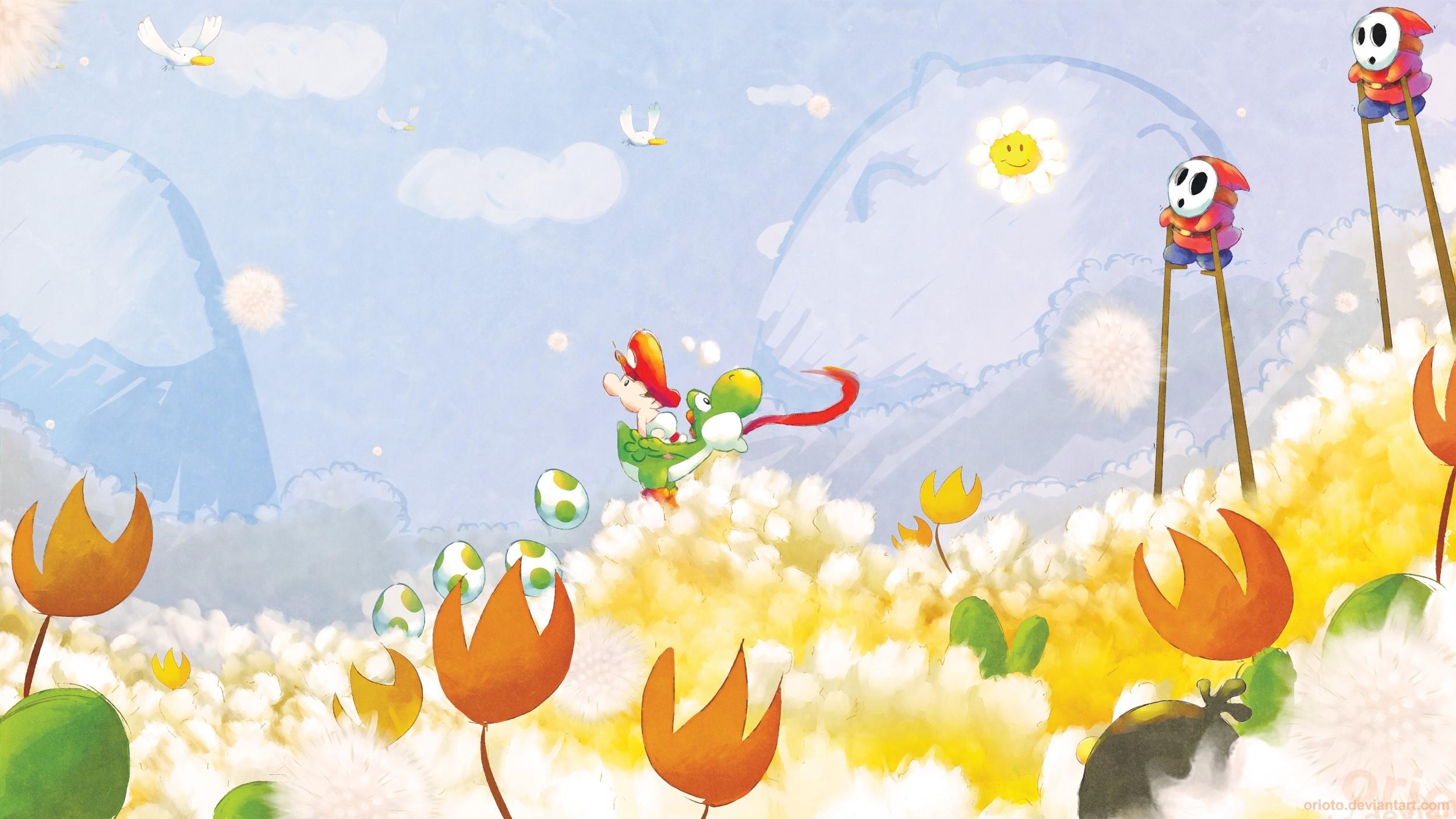 デスクトップ壁紙 図 ビデオゲーム ブランチ 黄 ヨシ ヨッシー