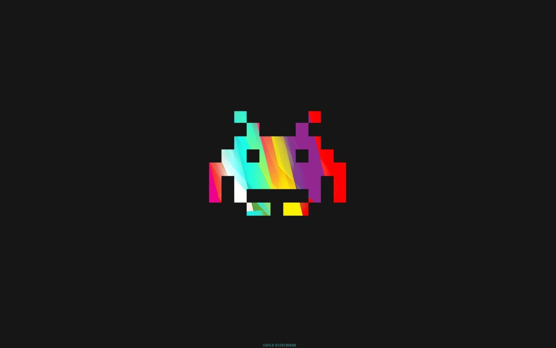 ilustração videogames minimalismo texto logotipo Invasores do espaço Jogos  retro Marca linha Captura de tela Papel