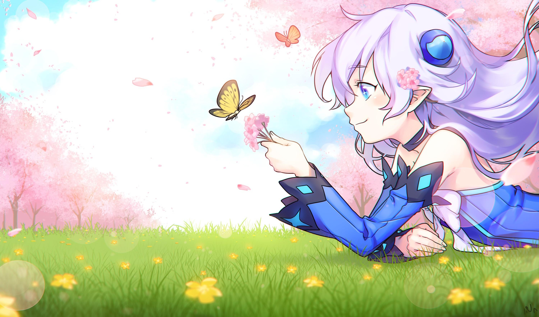 Illustration White Hair Anime Girls Grass Butterfly Cherry Blossom Pointed Ears Aqua Eyes Elsword Lu