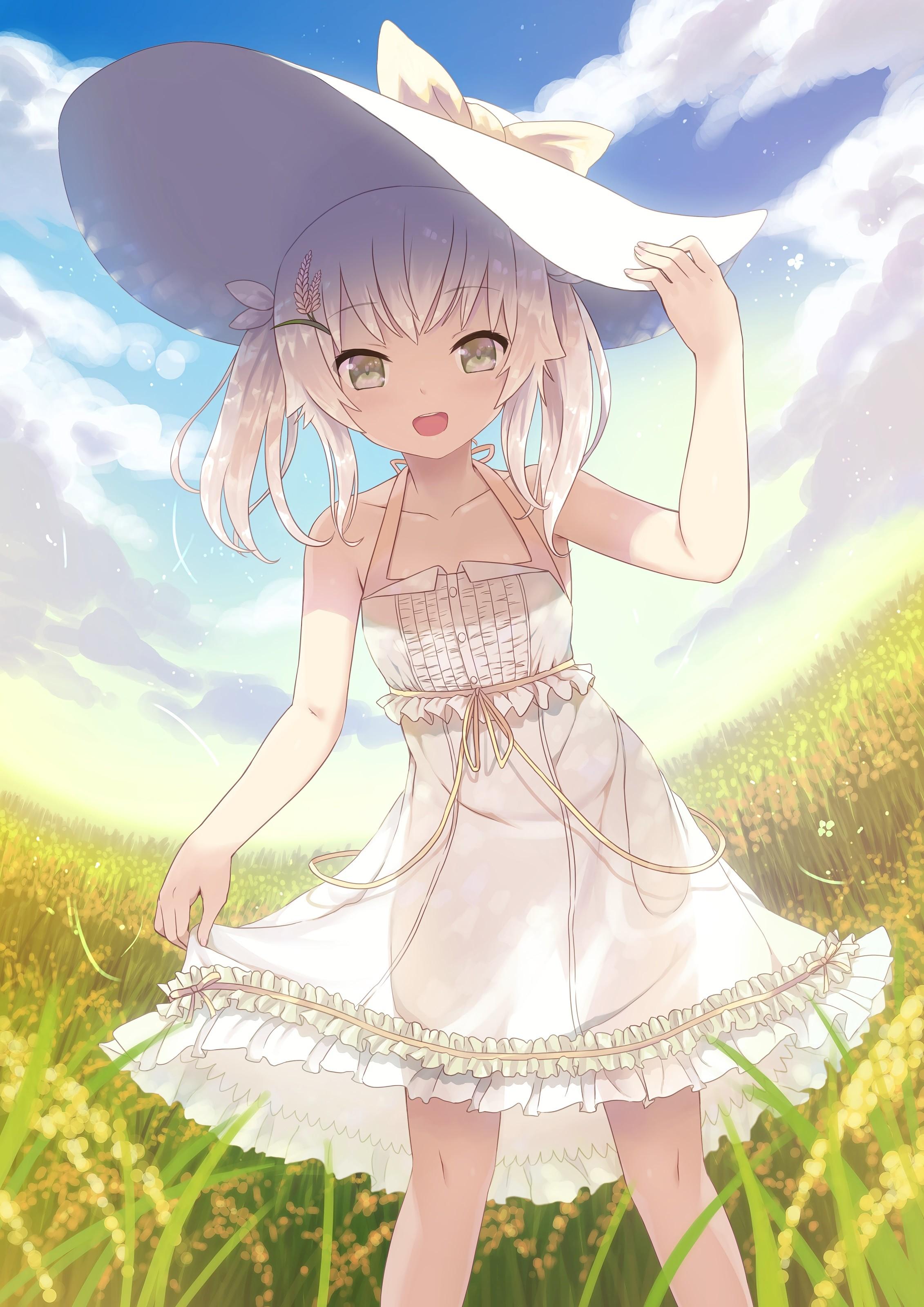 Anime girl in white dress
