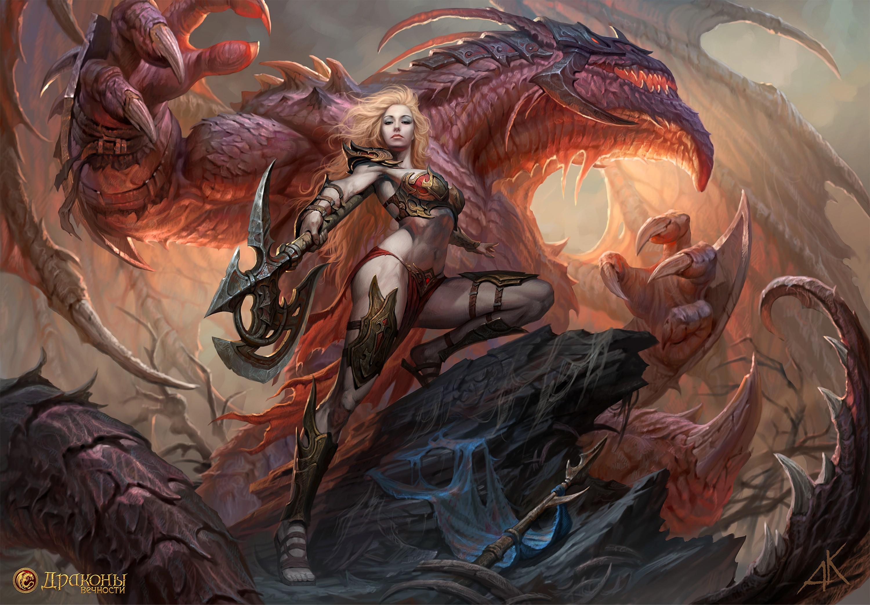 Wallpaper Illustration Women Armor Magic Dragon Axes