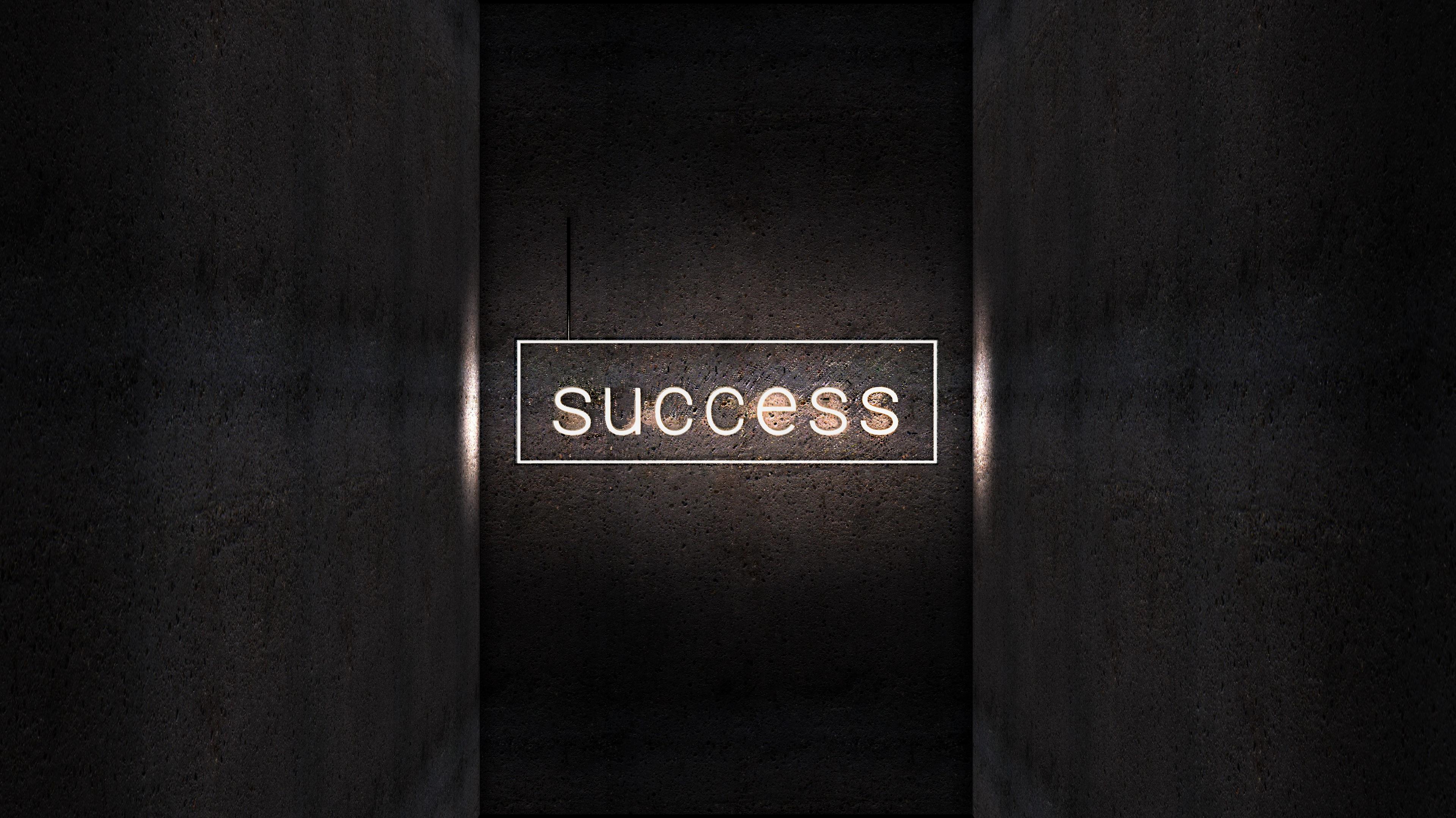 Wallpaper Inscription Light Neon Success 3840x2160